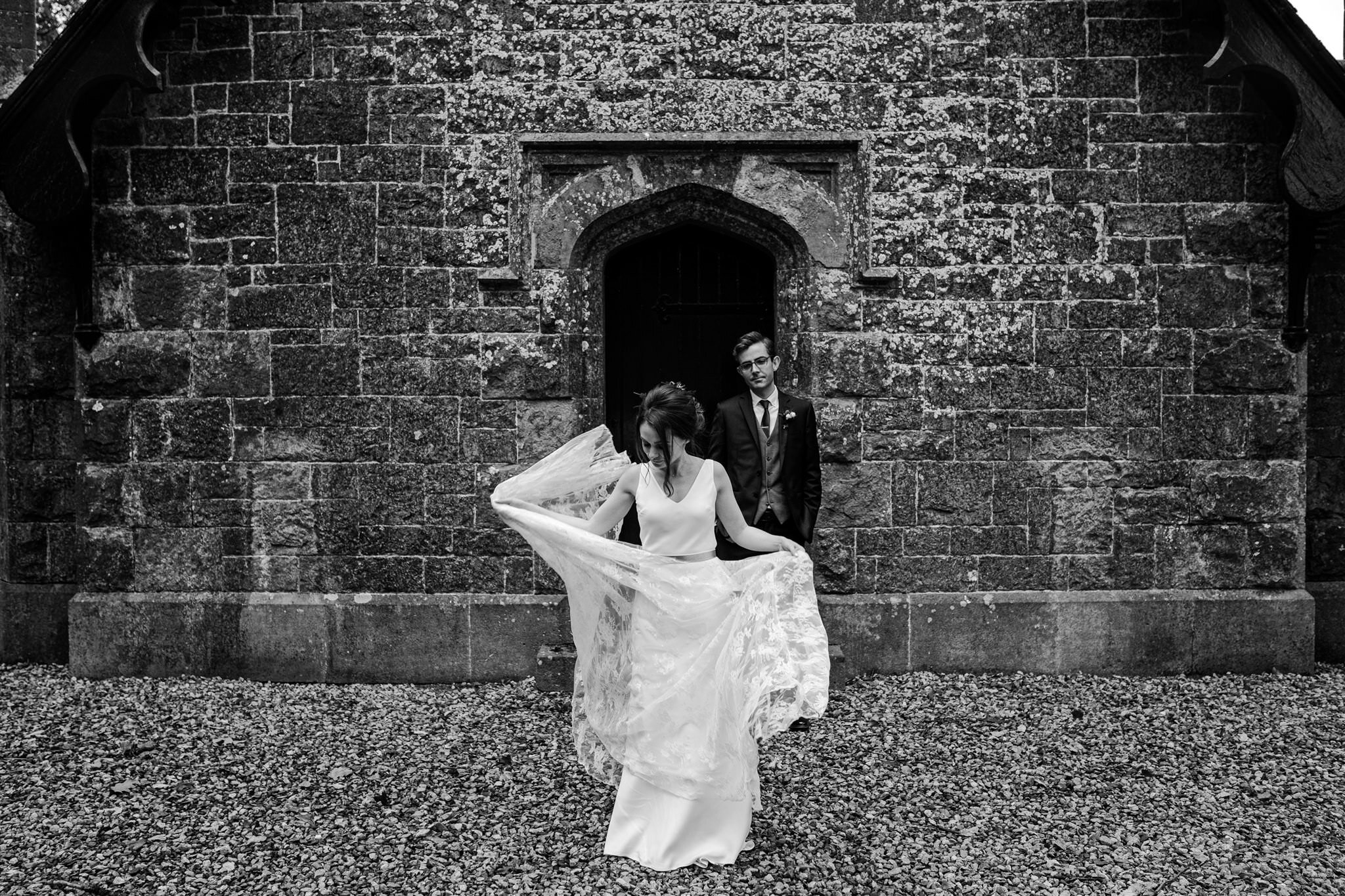 Creative wedding photography Charlie brear wedding dress crom castle