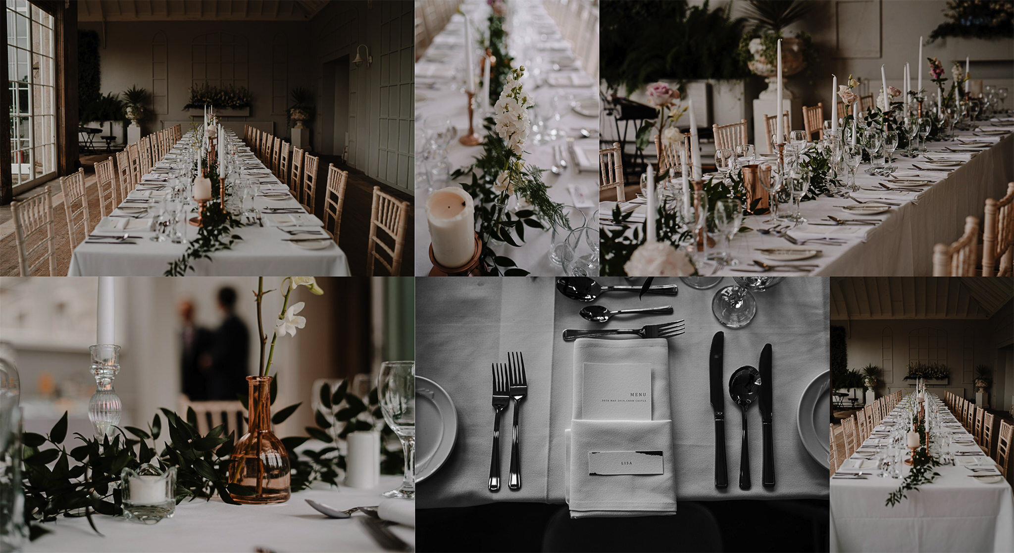 Crom castle intimate elegant wedding enniskillen decor tables