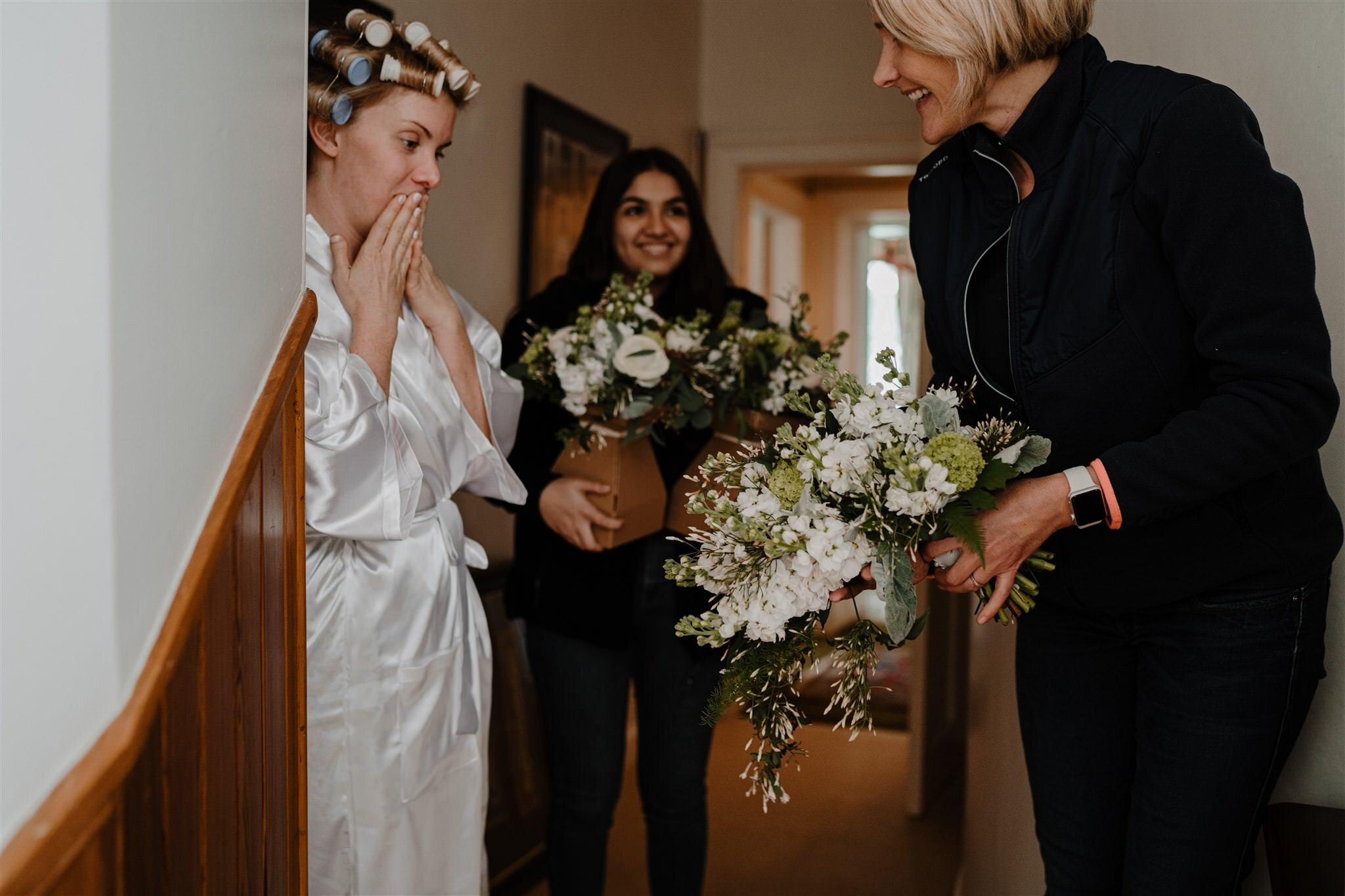 Happy bride gasps seeing bouquet by all seasons belfast