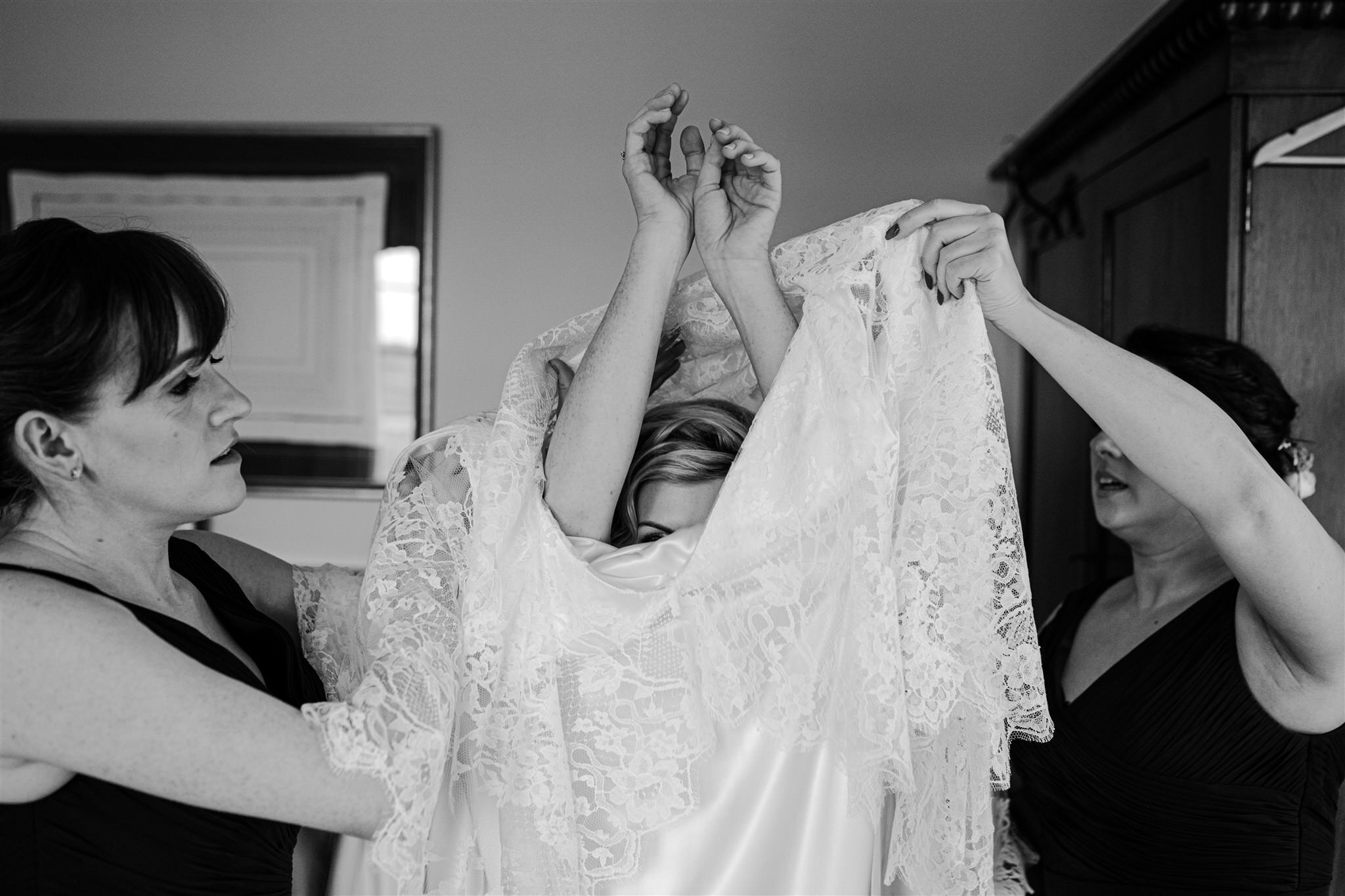 Bride getting ready Tullyveery house Alison Jayne couture custom lace wedding dress