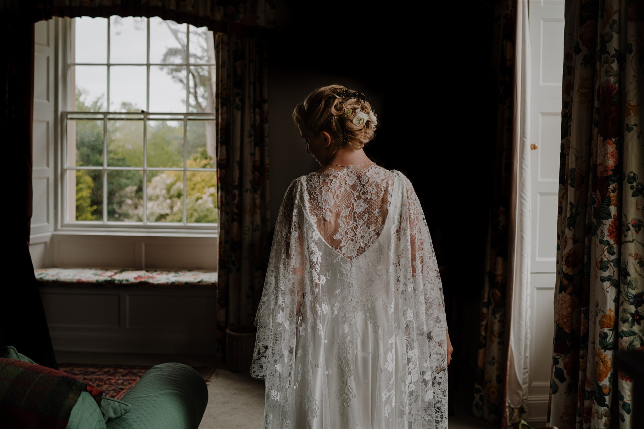 Custom lace cape wedding dress Northern Ireland Alison Jayne couture