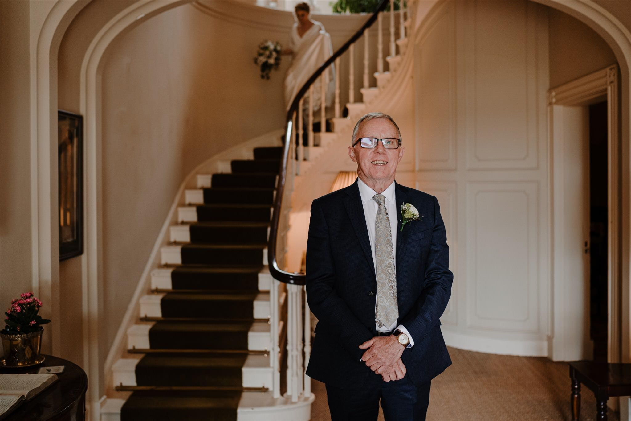 Father of bride first look steps Tullyveery house wedding