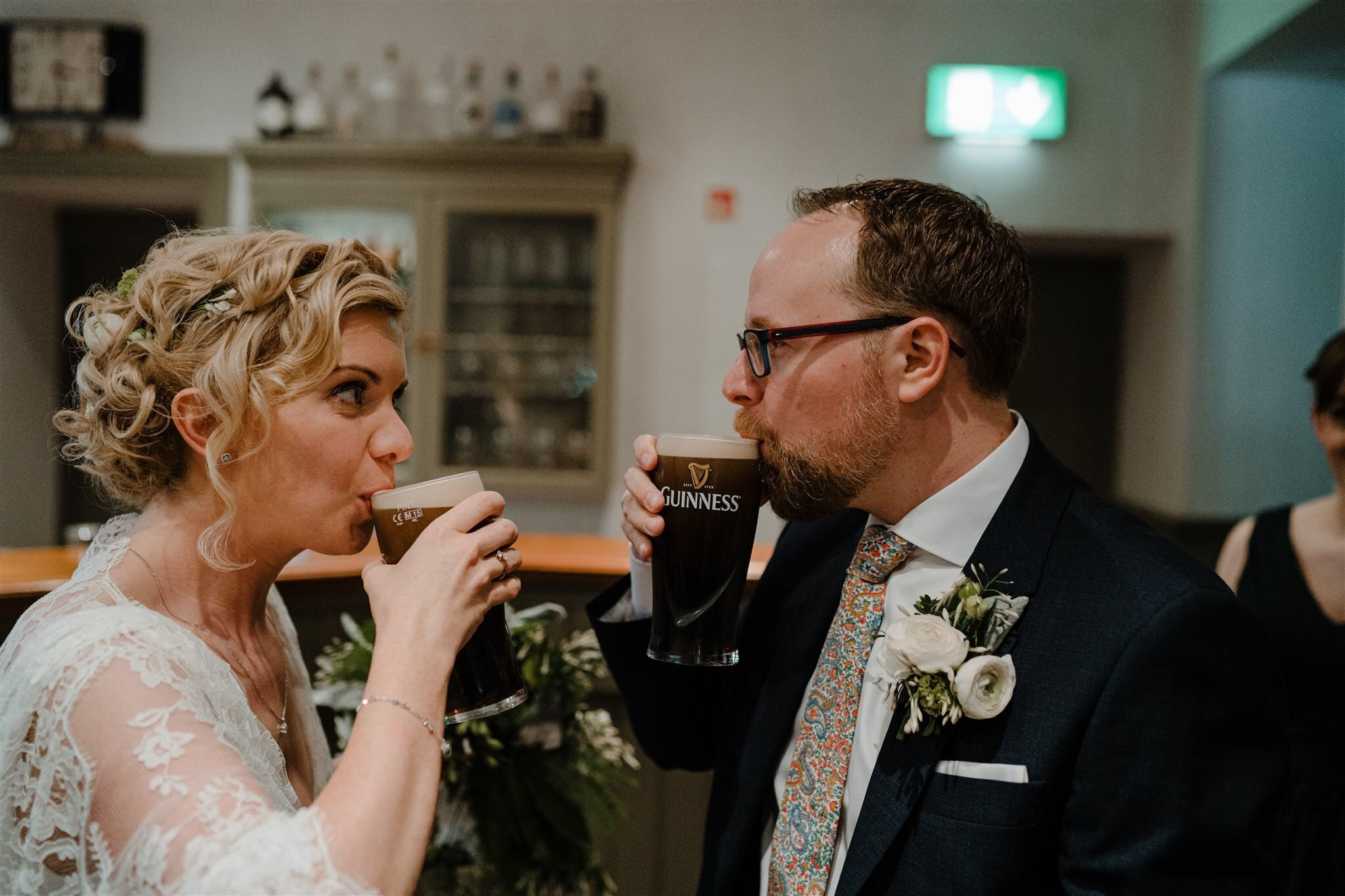 Bride groom first pint Guinness Tullyveery house wedding