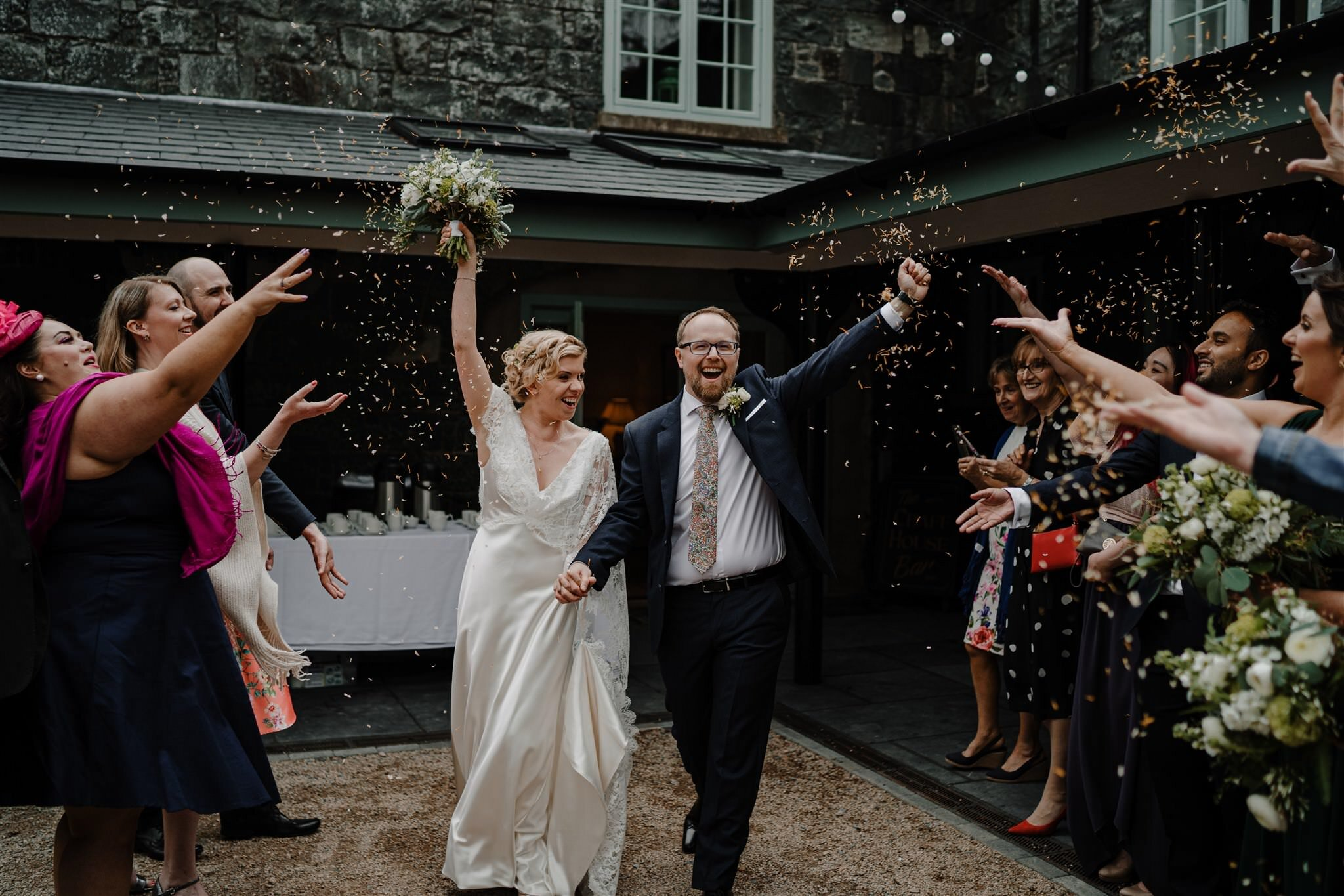 Confetti outdoors Tullyveery house weddimg summer