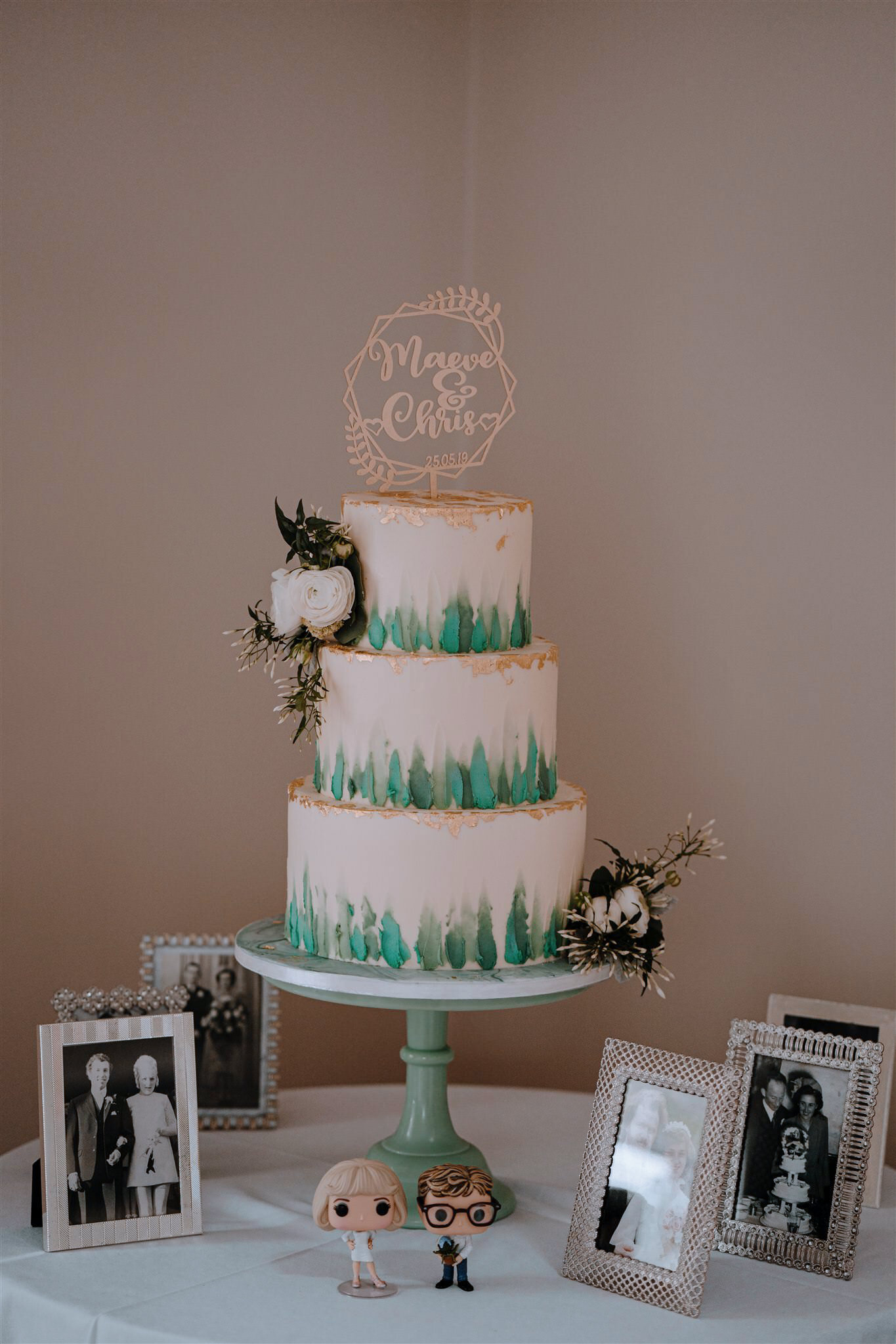Lily pink bakery 3 tier weddimg cake elegant simple white teal