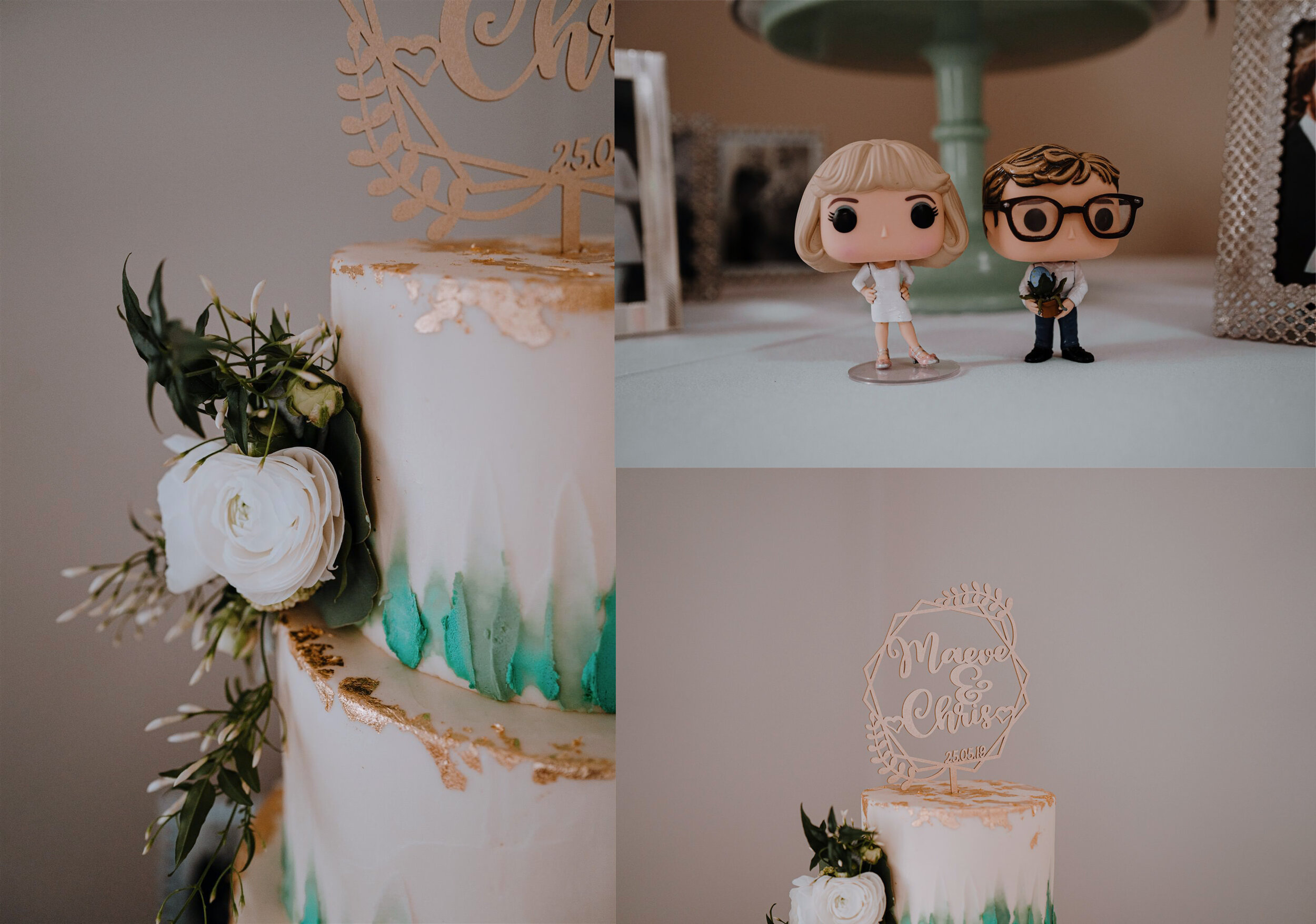 Lly pink bakery Northern Ireland white teal weddimg cake custom pop figures