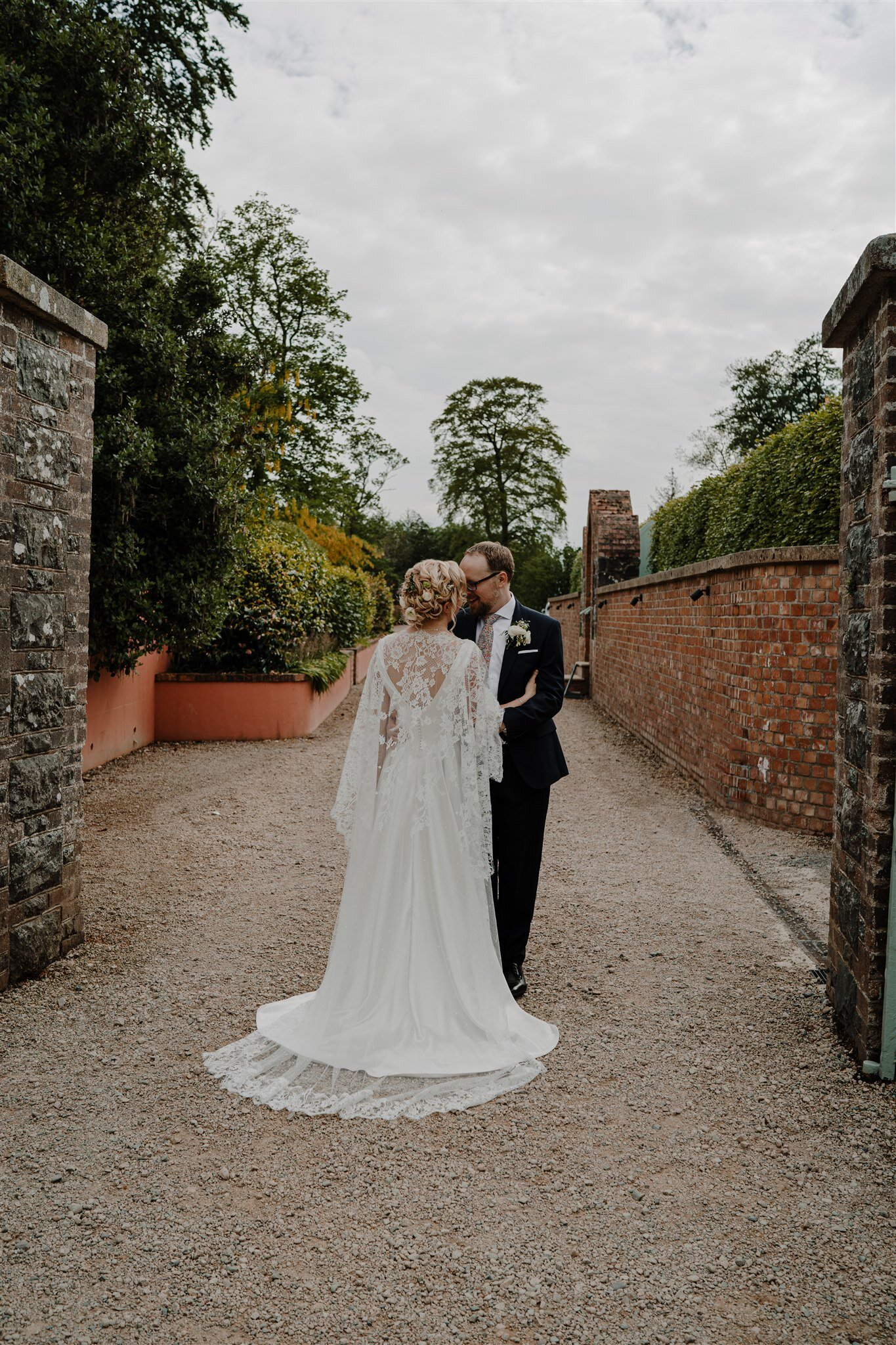 BrbCustom lace wedding cape dress Alison Jayne couture Tullyveery house wedding