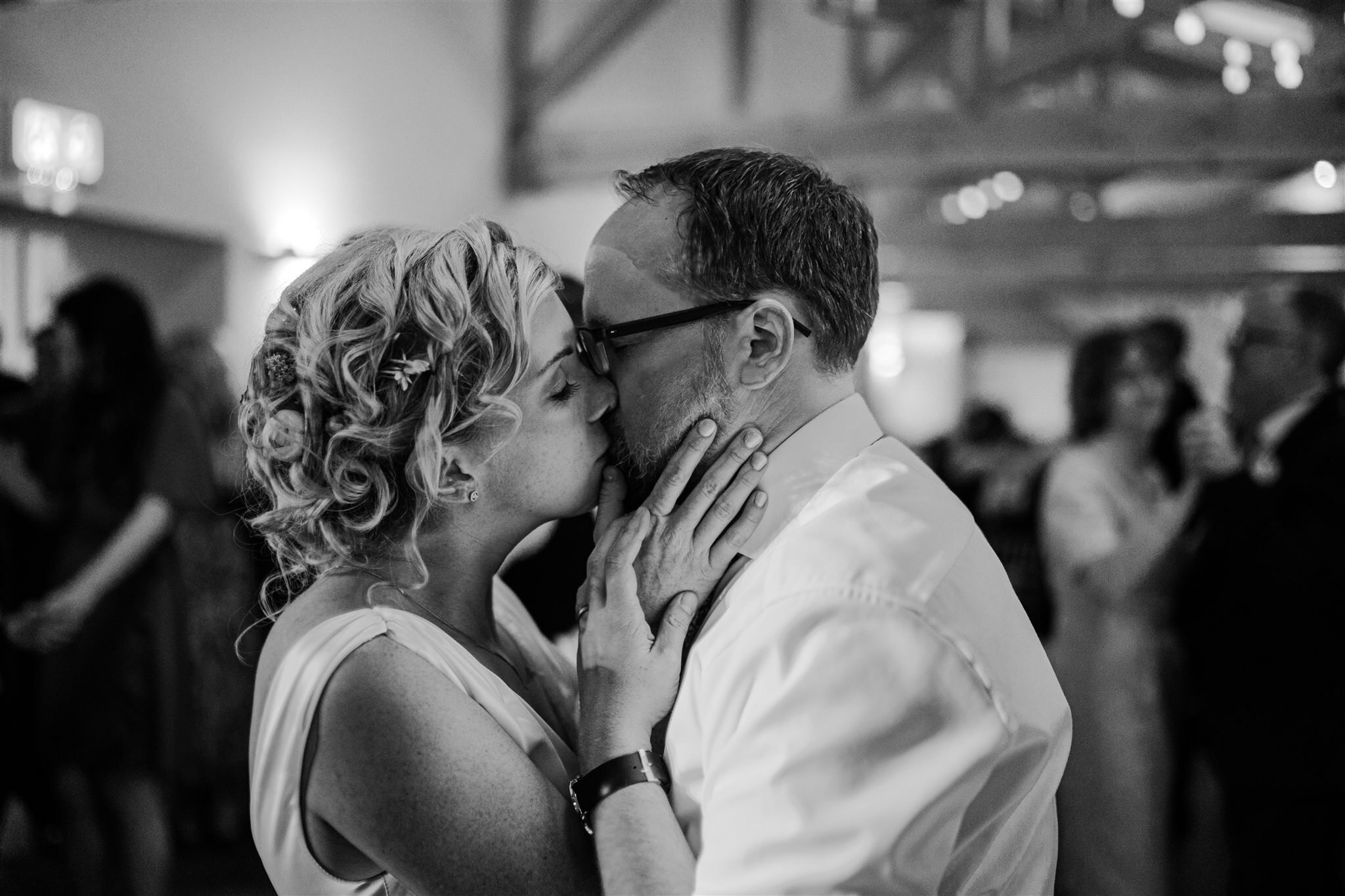 Bride groom kiss first dance Tullyveery house wedding