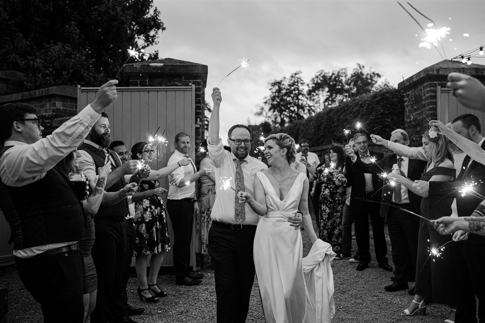 Bride groom sparklers Tullyveery house wedding summer
