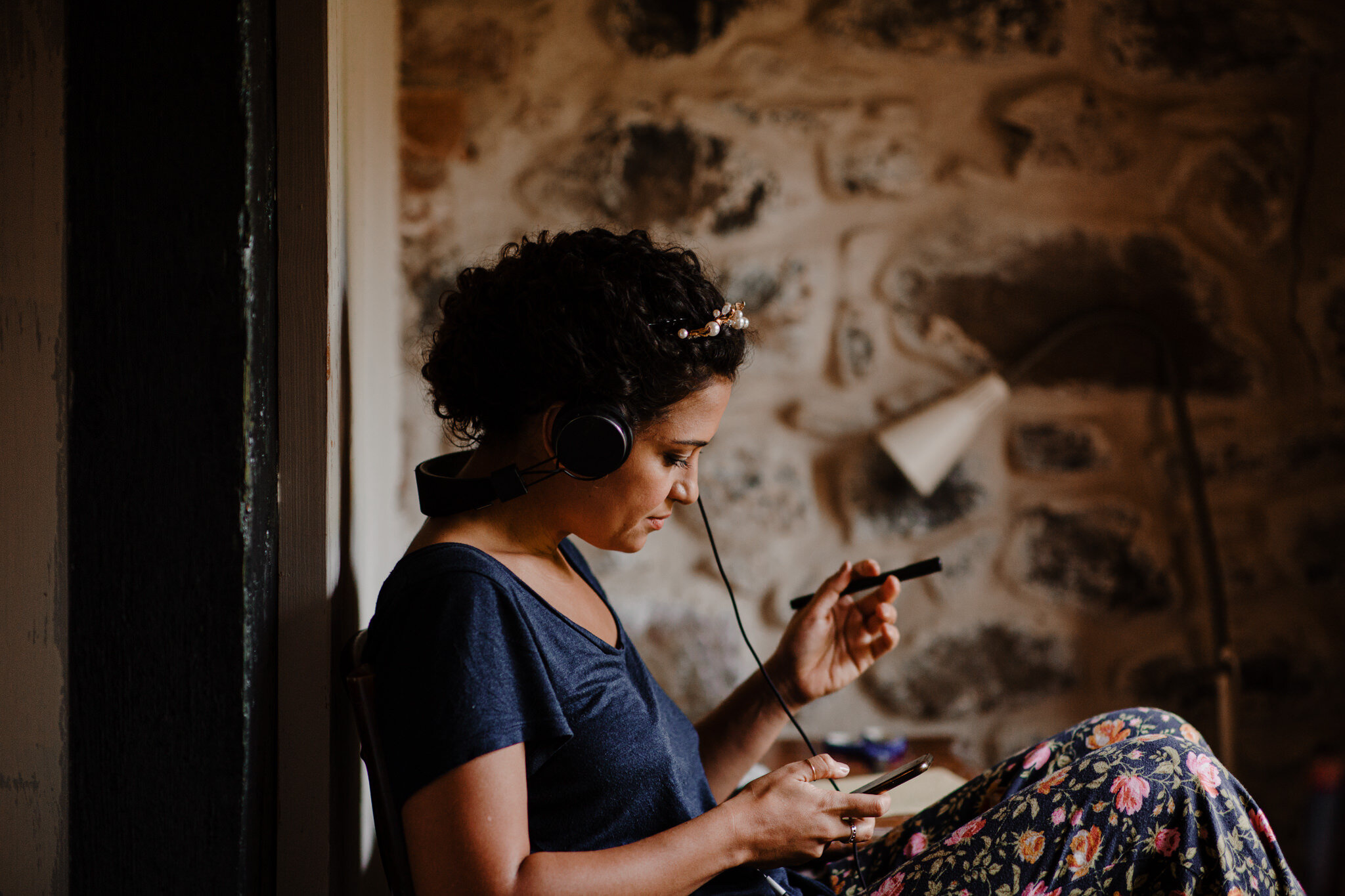 limepark cottages wedding bride getting ready earphones writing personal vows