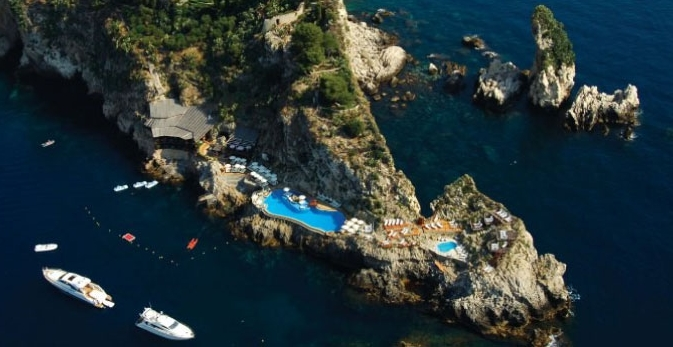 Hotel Capotaormina used as a location base for Luc Bresson's cult movie,  The Big Blue