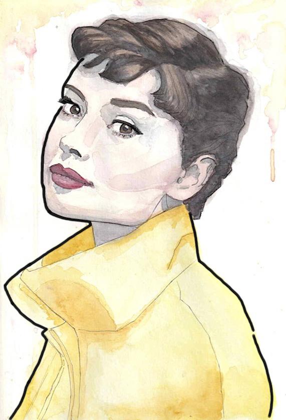Tekening portret Audrey Hepburn filmster aquarel en inkt
