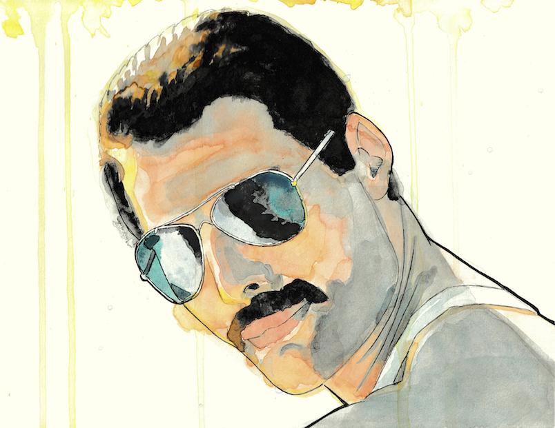 Freddy Mercury tekening portret zanger inkt en aquarelverf