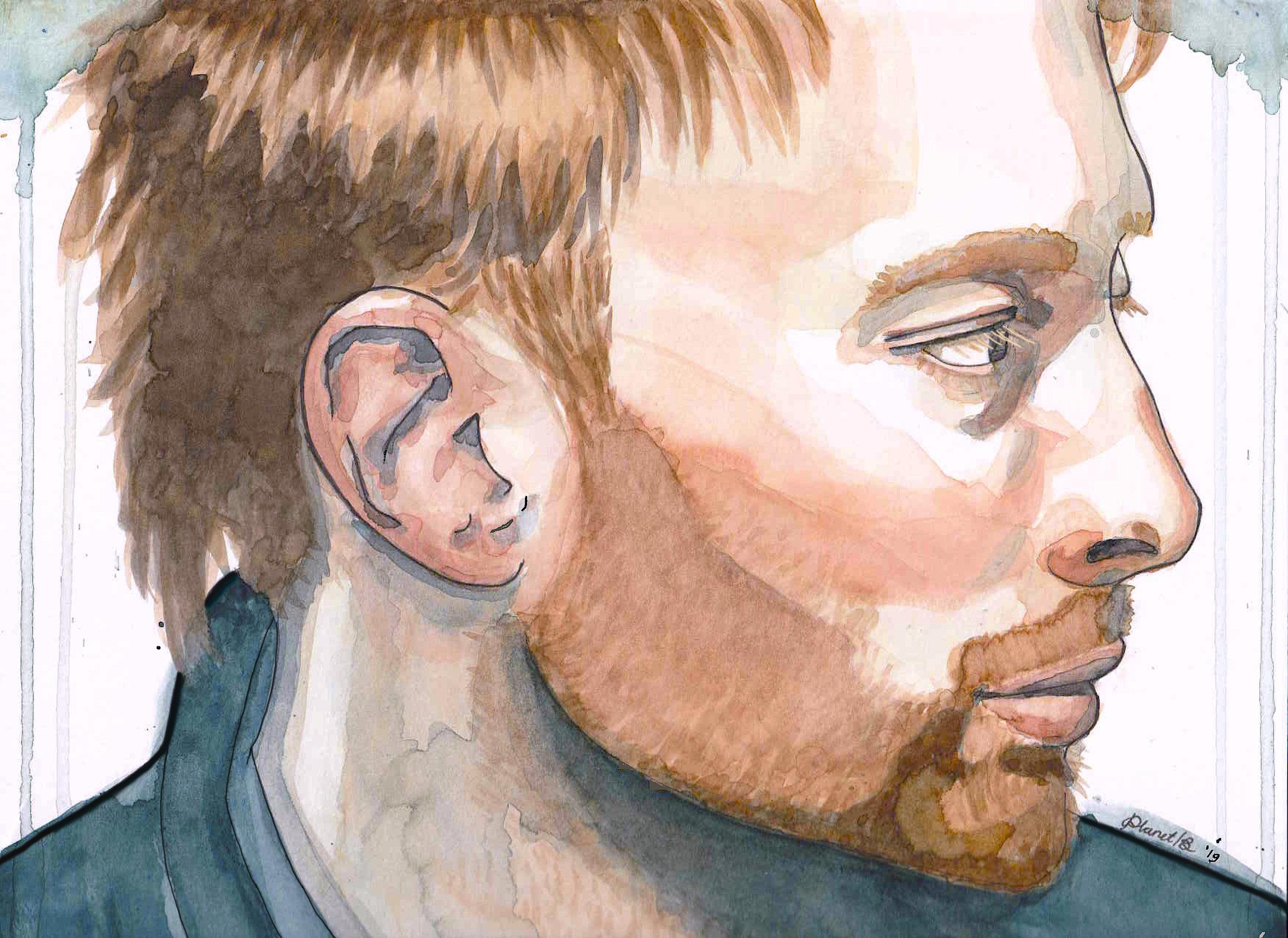 Thom Yorke radiohead tekening portret inkt en aqaurelverf