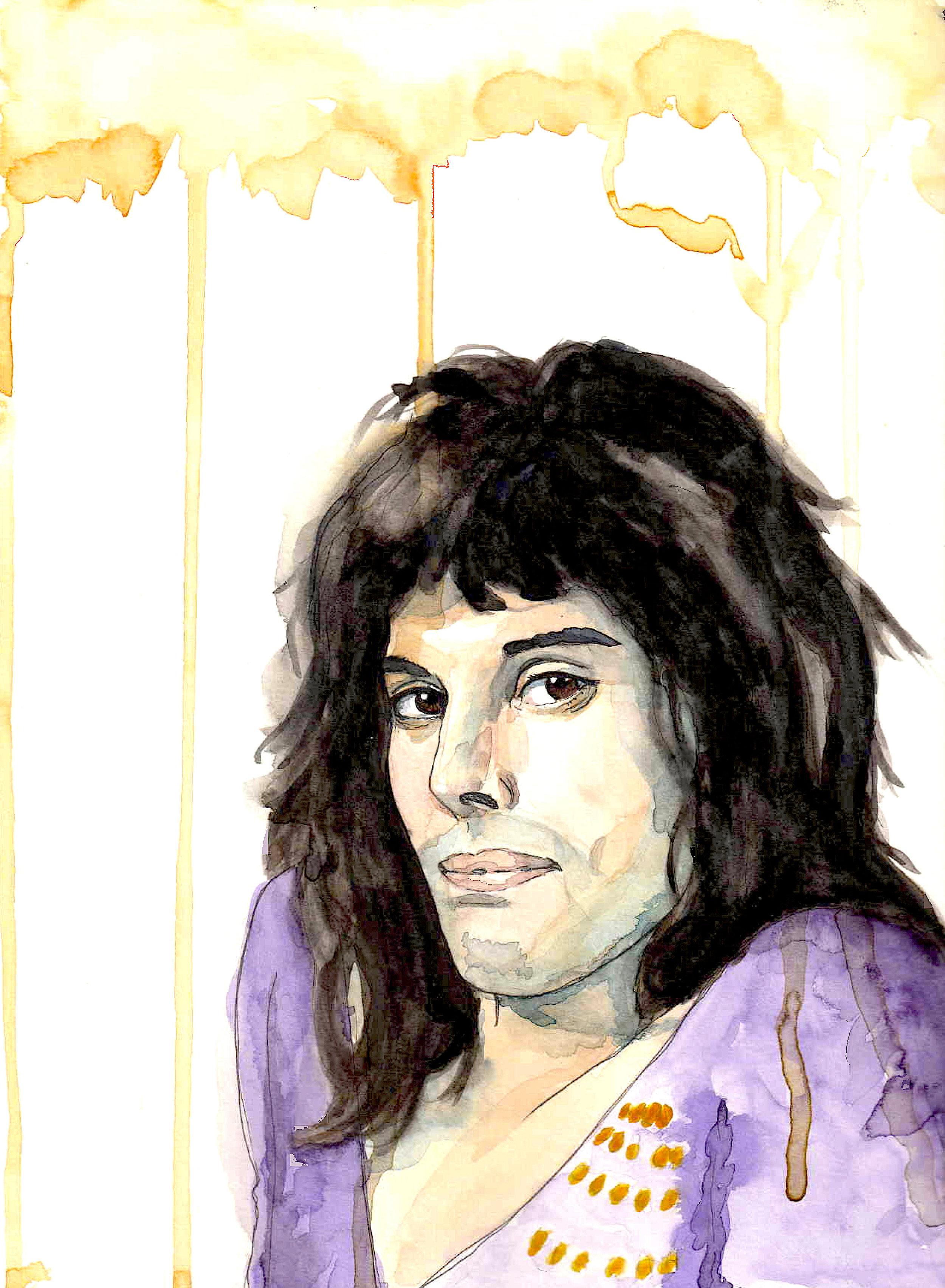 Freddy Mercury glamrock tekening portret inkt en aquarelverf