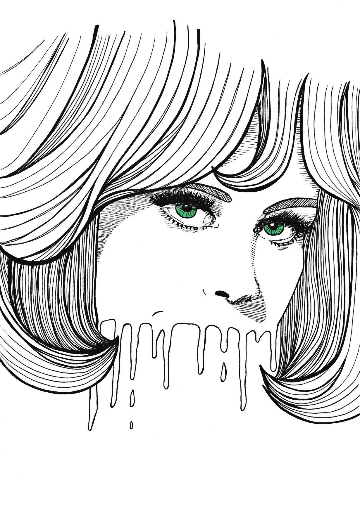 inkttekening portret vrouw diva groene ogen zwart wit