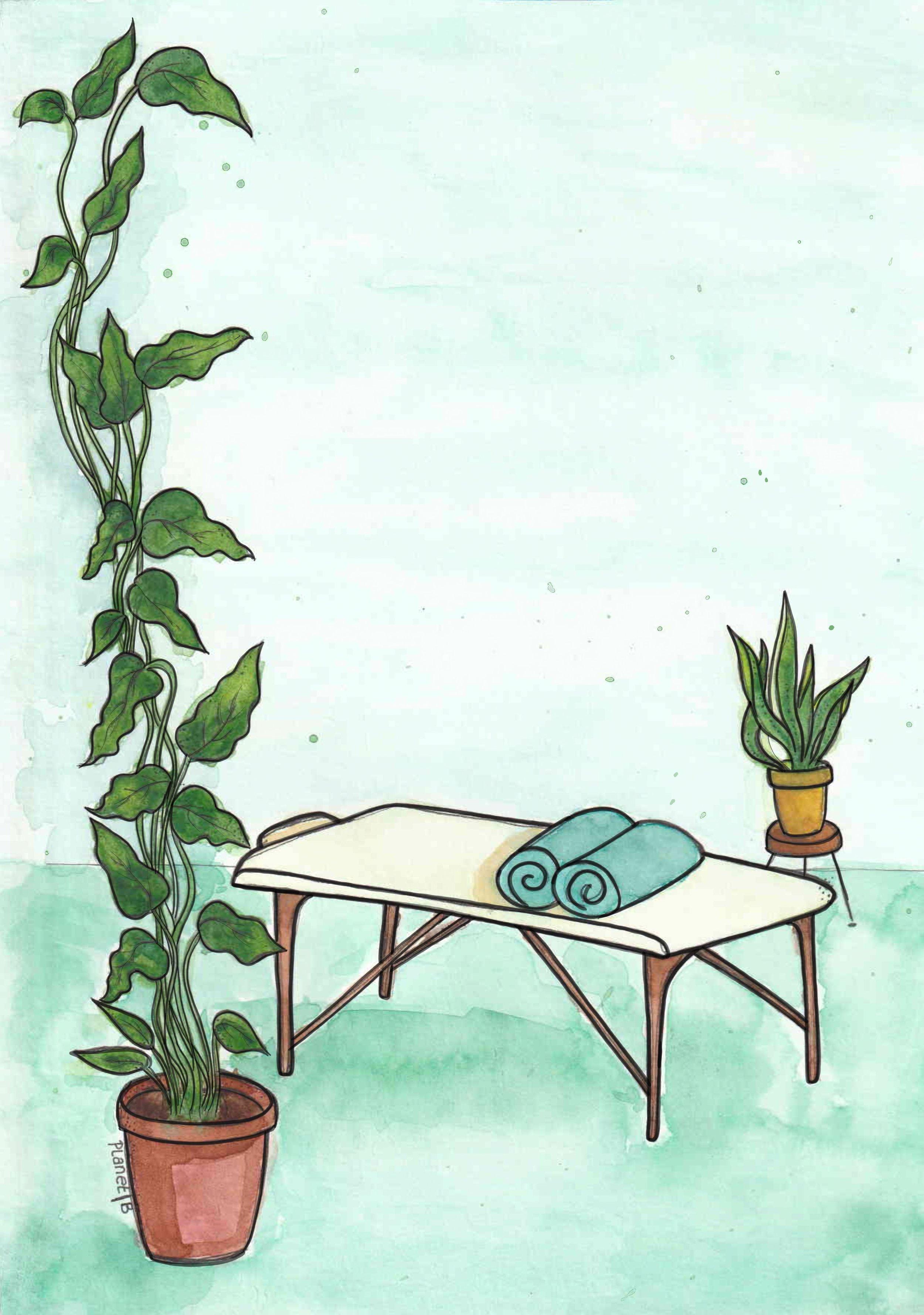 Posterontwerp voor massage studio plant en massagetafel inkt en aquarelverf