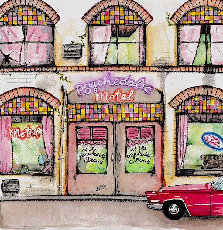 Ontwerp voor LP hoes albumhoes At the Psychedelic Circus at the psychedelic motel kleuren inkt en aquarelverf