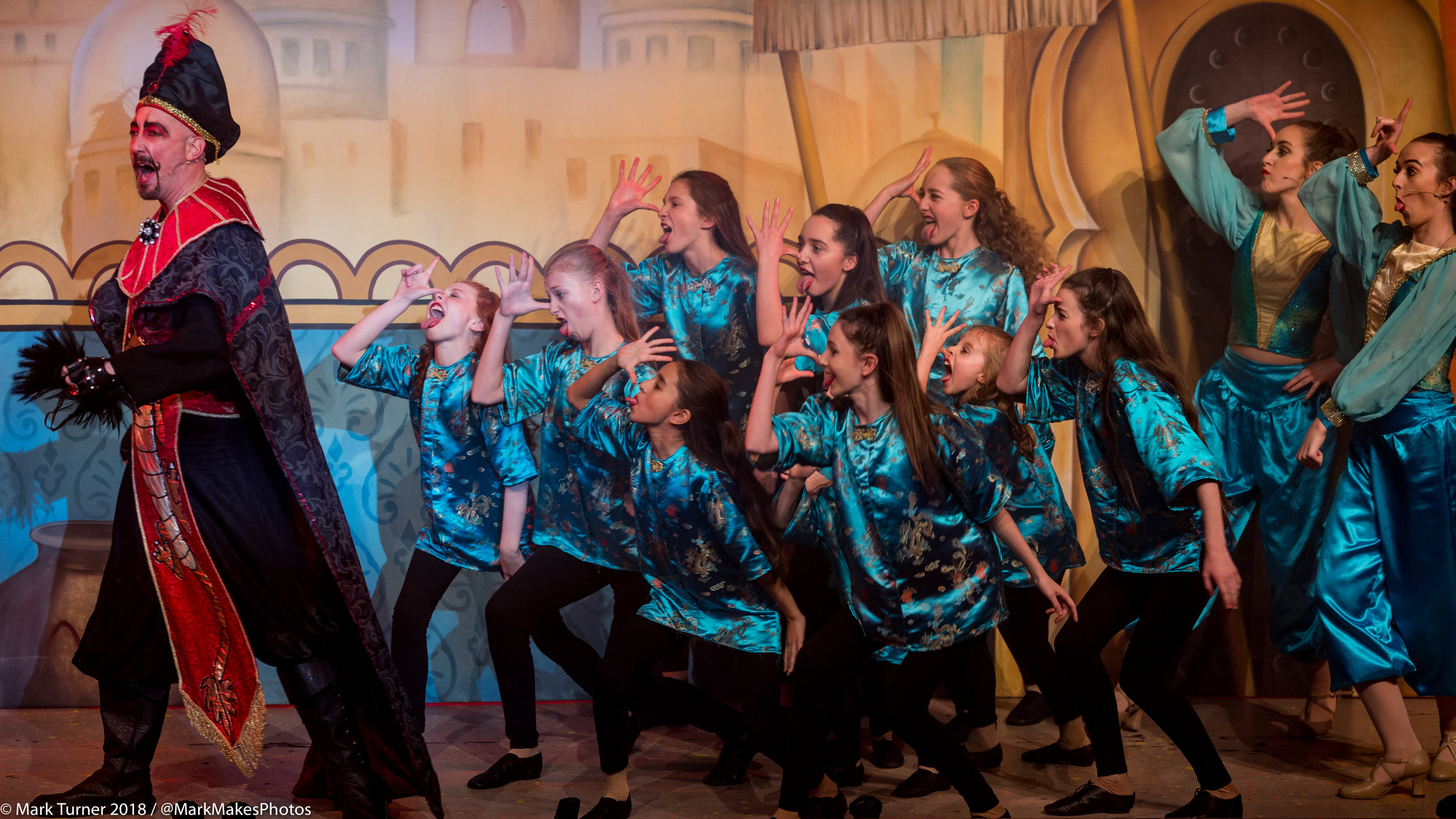 """""""Team Jasmine"""" perform """"Everything About You"""" with Tom Beard / Abanazer during their last show with LP Creatives Leatherhead Pantomime 2018: Aladdin - Copyright 2018 Mark Turner, all rights reserved."""