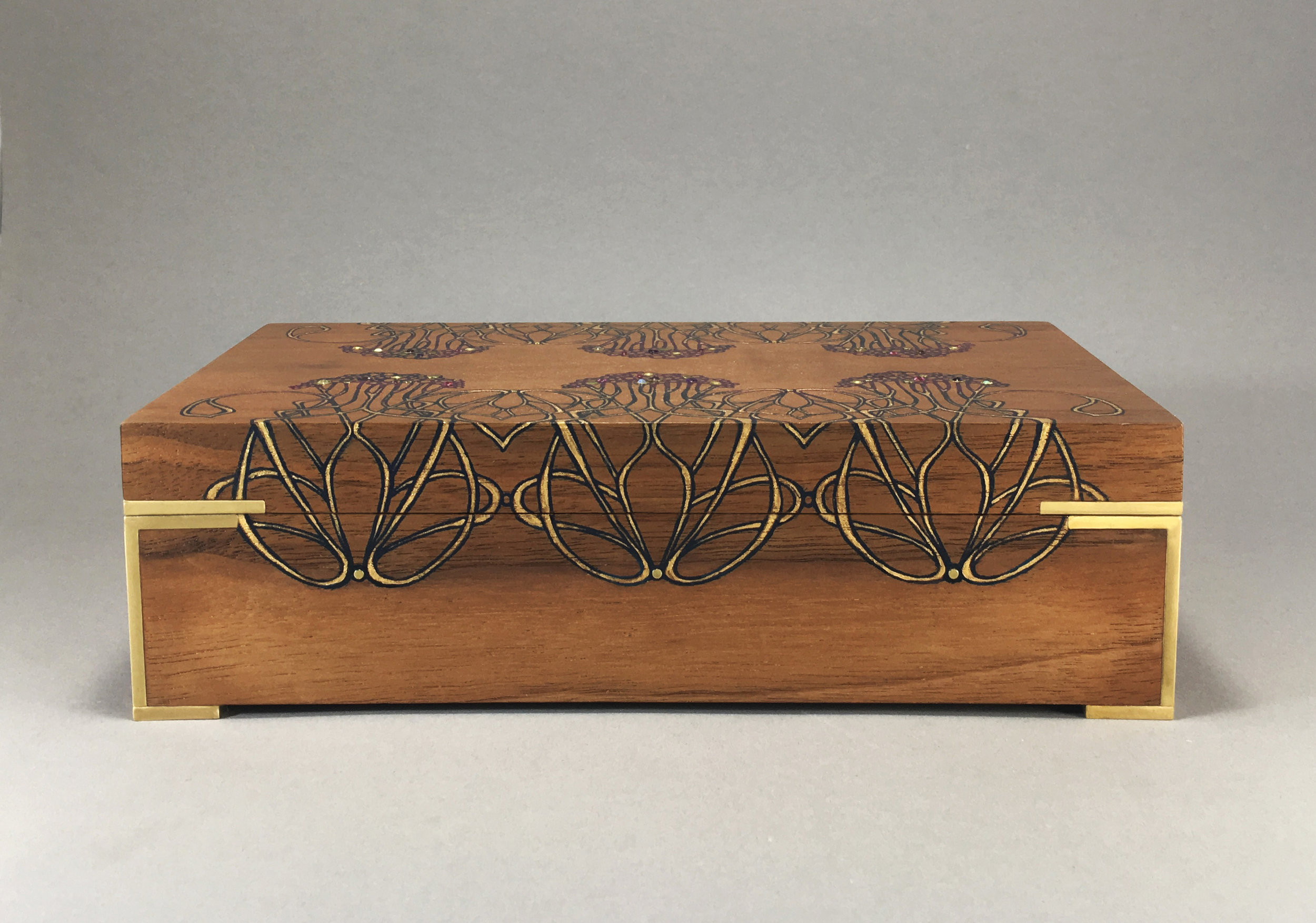 "new nouveau  box, walnut, 9"" x 5"" x 2.75"", brass, amethyst, opals, rhodolite and white topaz gemstones, lined with navy suede, $450"
