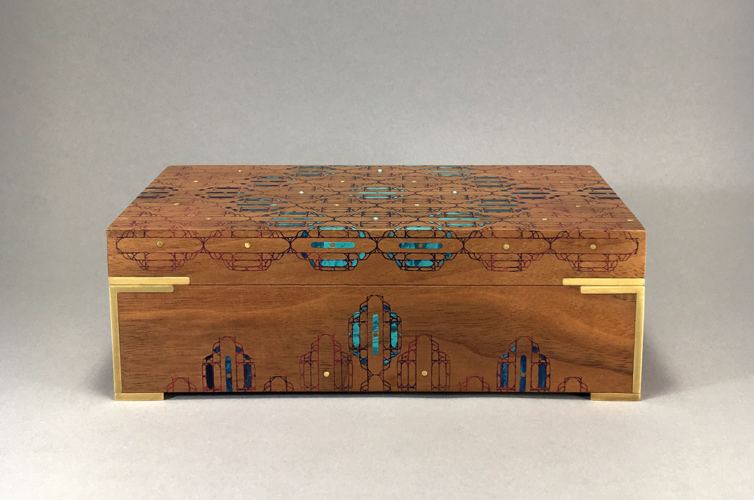 """cathedral  box, walnut, 8"""" x 4"""" x 2.75"""",brass and turquoise gemstones, lined with navy suede, $350"""