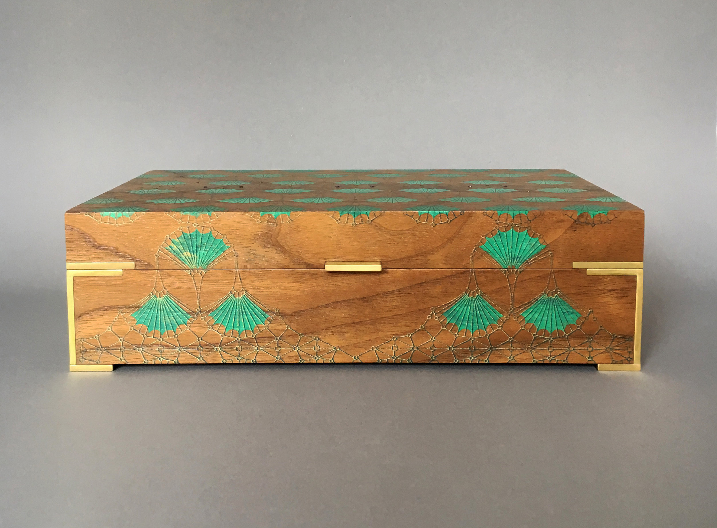"""arches  box, walnut, 10"""" x 6"""" x 2.75"""", brass and amethyst gemstones, solid brass hinges, lined with navy suede, $500 with brass side tabs or $550 with brass hinges"""