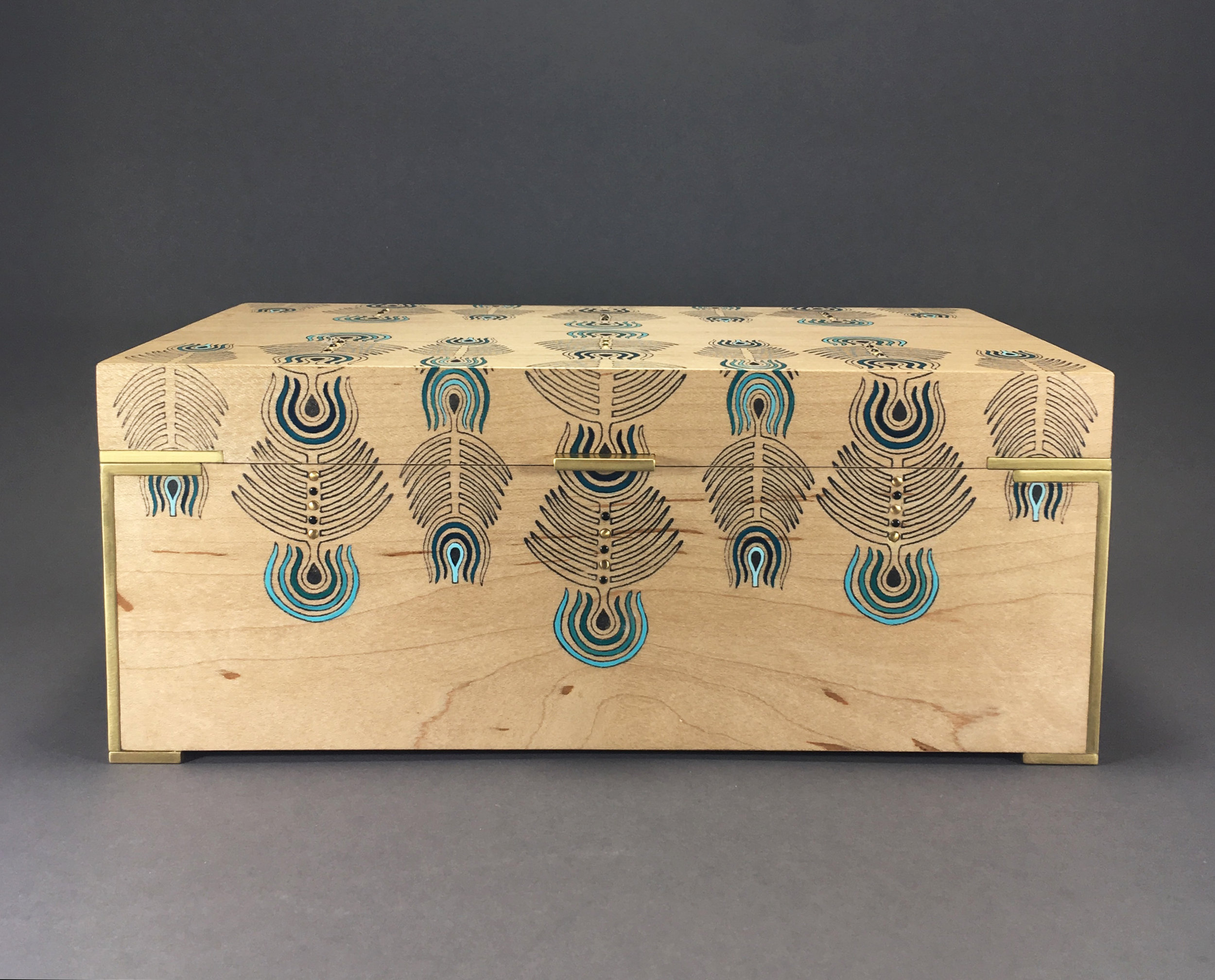 """peacock  box, maple, 10"""" x 6"""" x 4"""", brass and black spinel gemstones, solid brass hinges, lined with navy suede with a removable top tray, $600"""