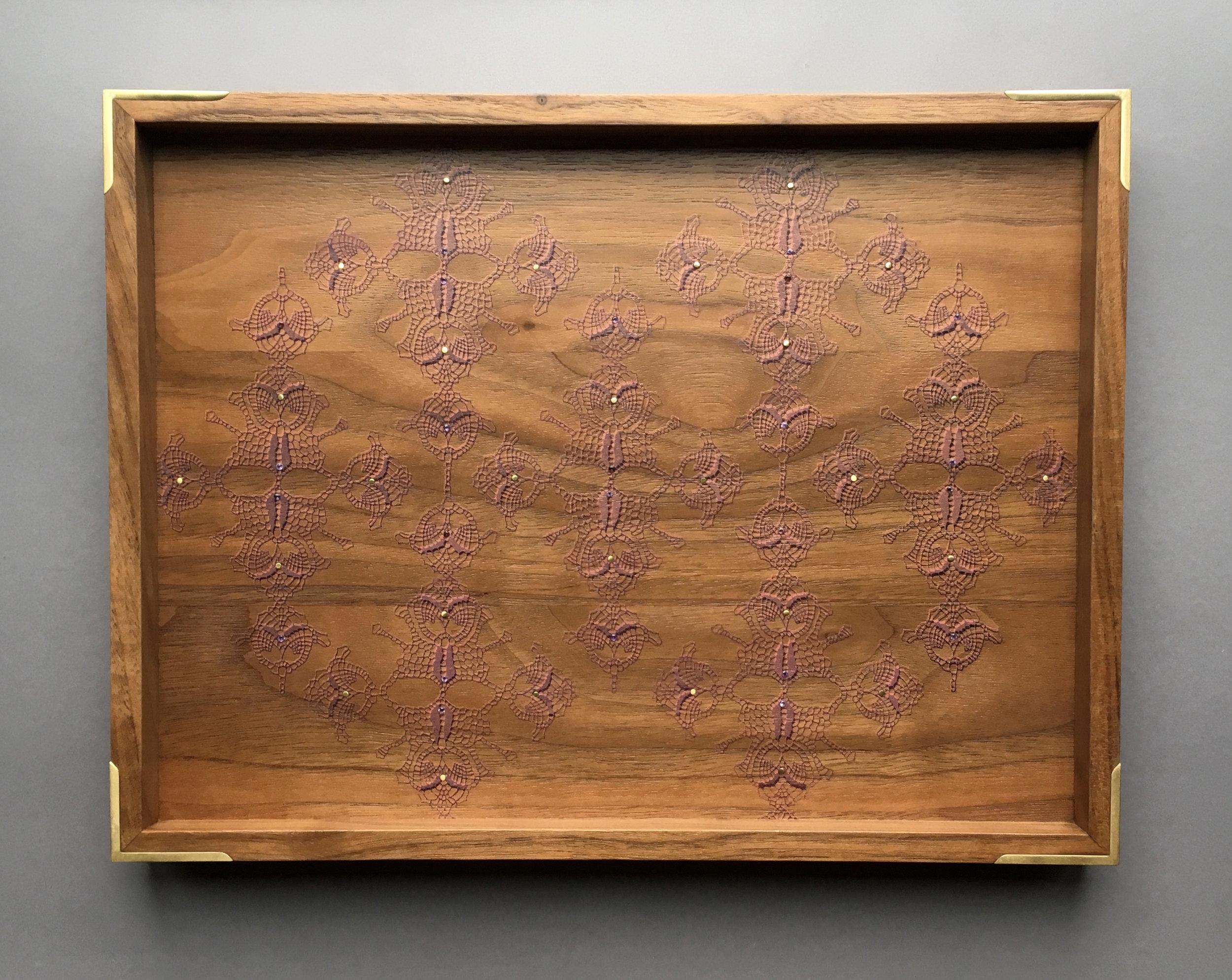 "straight lace  tray, walnut, 9.5"" x 12.5"" x 1.25"", brass and amethyst gemstones, $225"