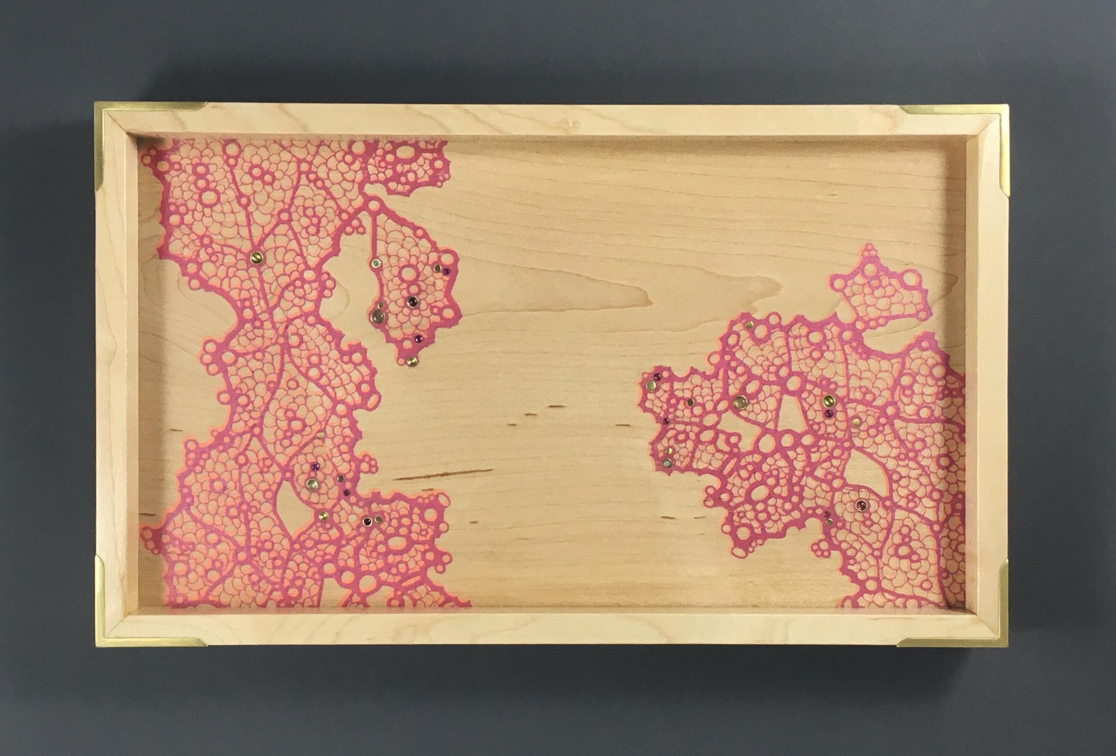 "lace  tray, maple, 11.5"" x 7"" x 1.25"", brass, rhodolite, moonstone, opal, and tourmaline gemstones, $200"