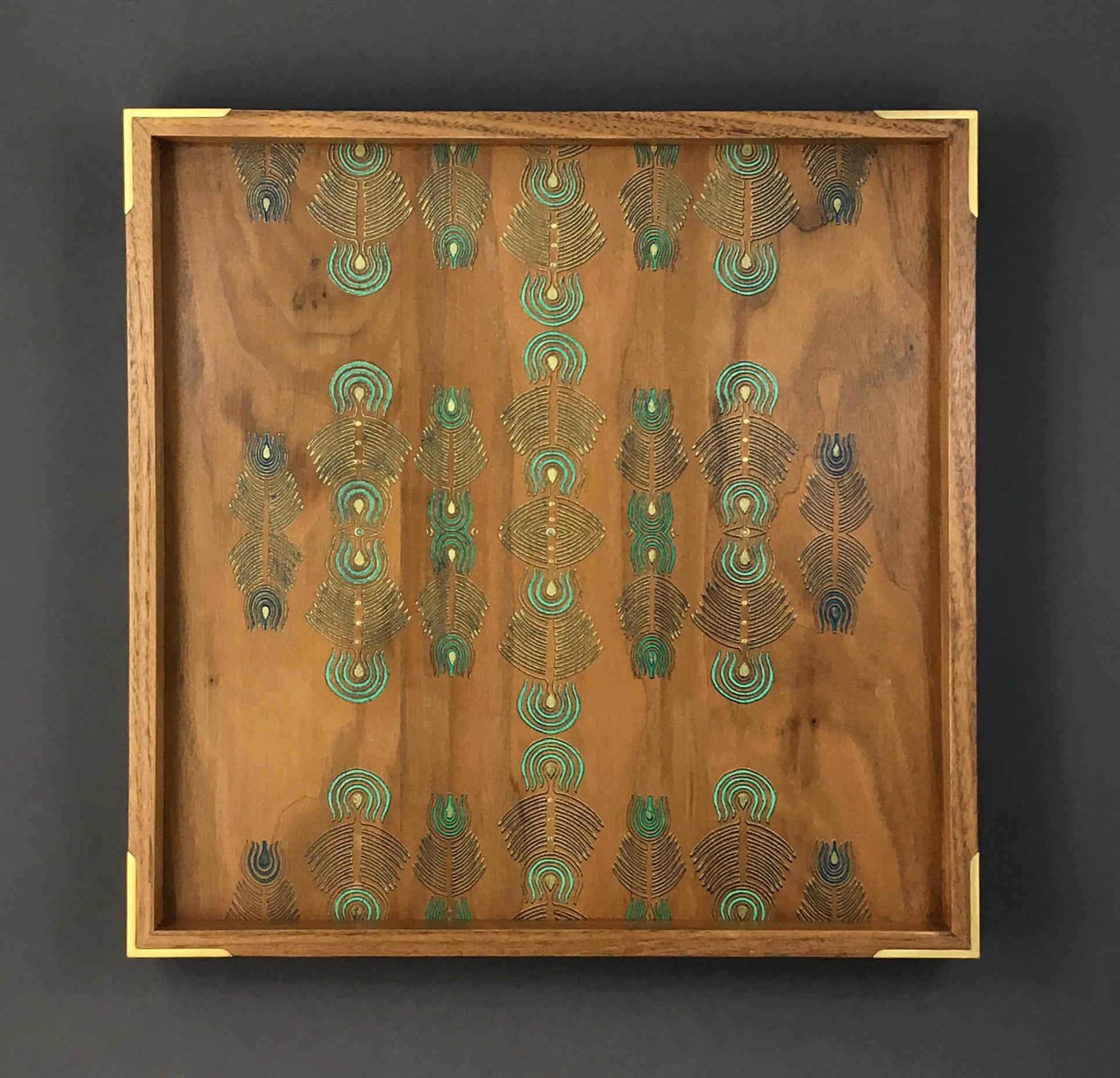 """peacock  tray, walnut, 12"""" x 12"""" x 1.25"""", brass and opal gemstones, $250"""