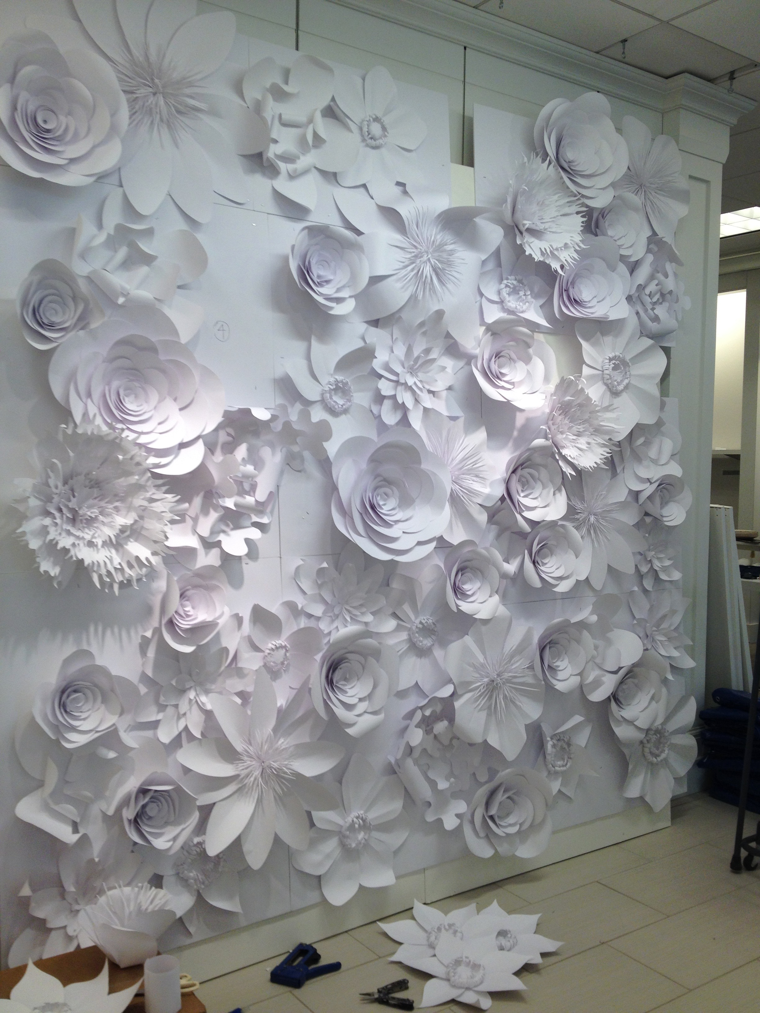 paper flower wall install