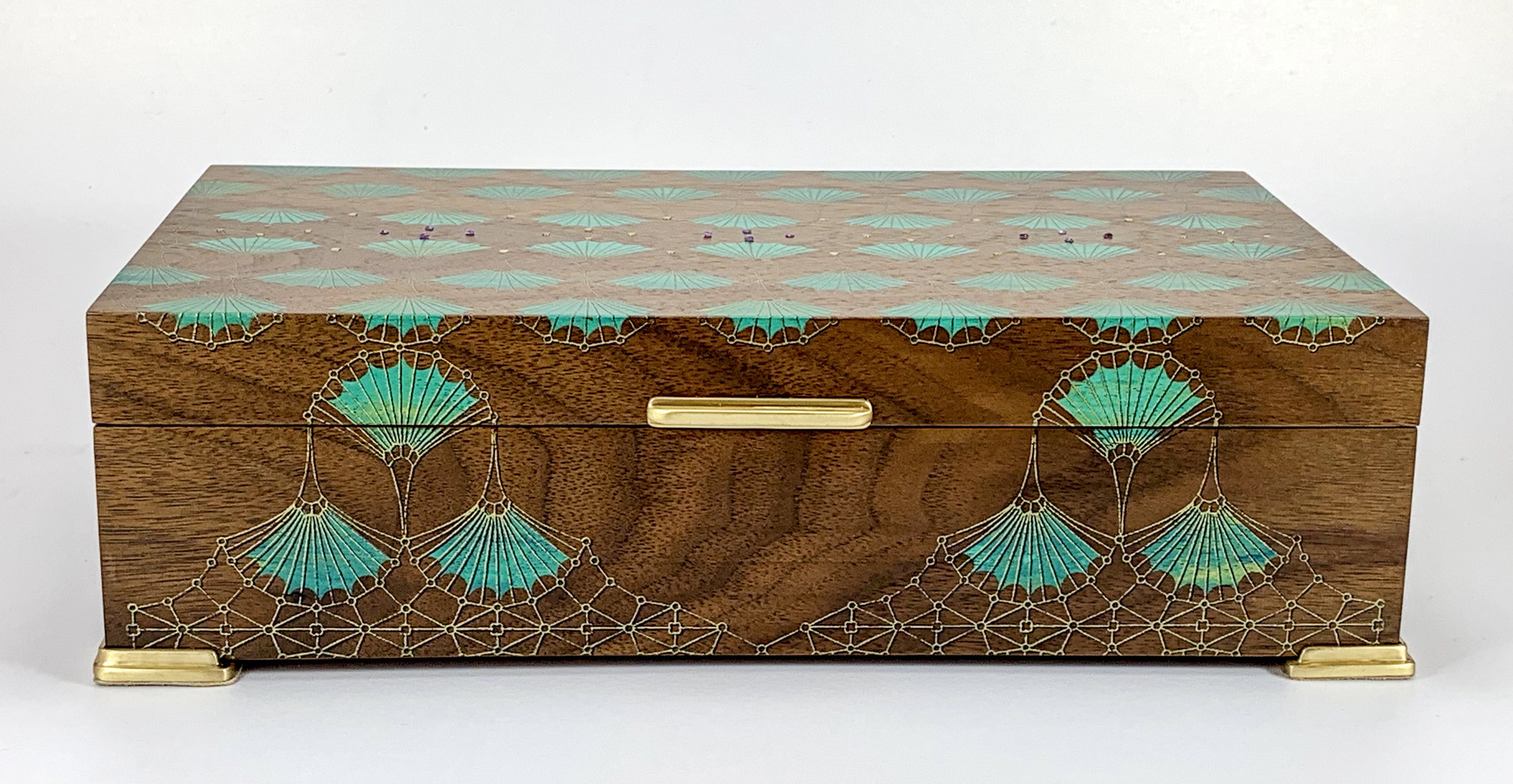 """arches  box, walnut, 10"""" x 6"""" x 2.75"""", brass and amethyst gemstones, solid brass hinges, lined with navy suede"""