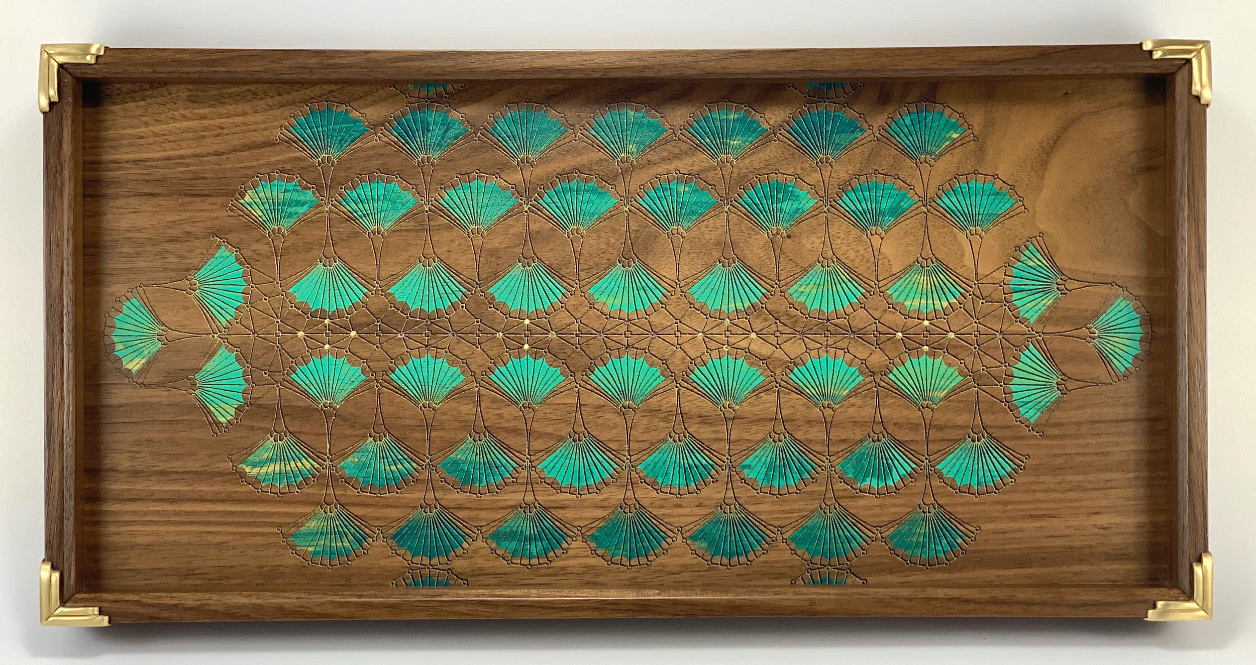 "arches  tray, walnut, 15"" x 12"" x 1.25"", brass and garnet gemstones"