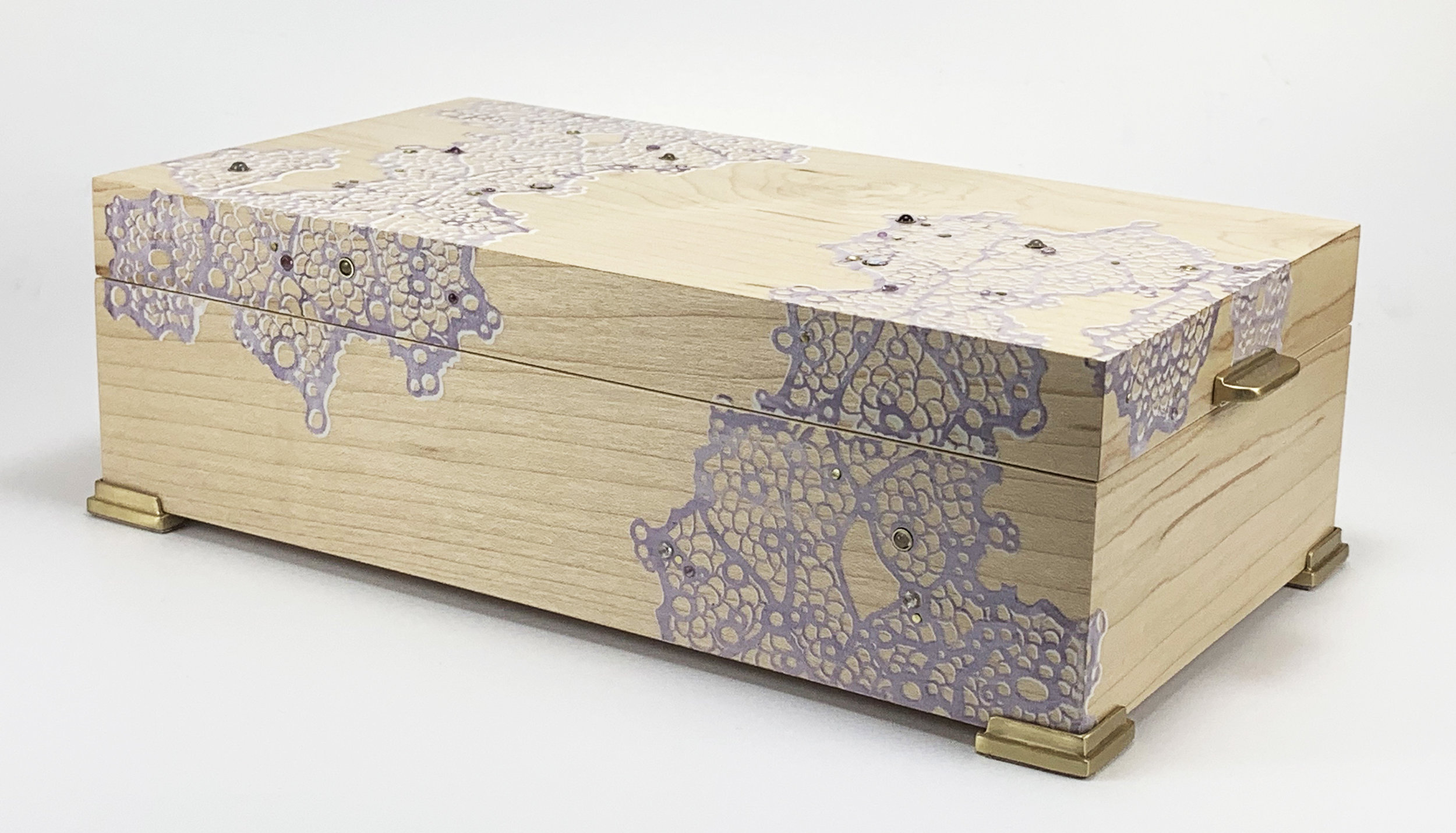 """lace  box, maple, 9"""" x 5"""" x 2.75"""", brass, amethyst, white topaz, opal, moonstone, and aquamarine gemstones, lined with navy suede"""