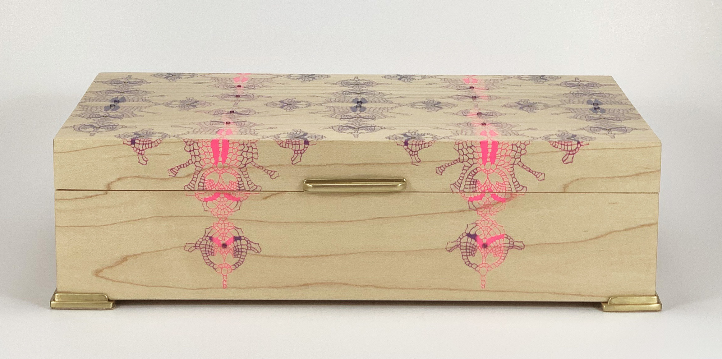 """straight lace  box, maple, 10"""" x 6"""" x 2.75"""", brass and rhodolite gemstones, lined with navy suede"""