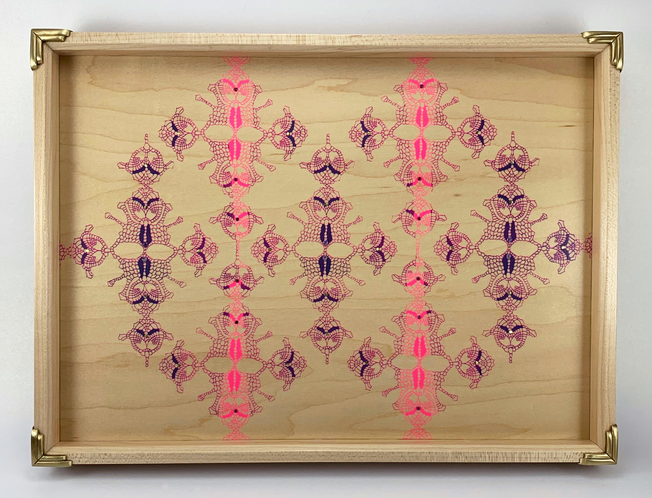 """straight lace  tray, maple, 9.5"""" x 12.5"""" x 1.25"""", brass and amethyst gemstones"""