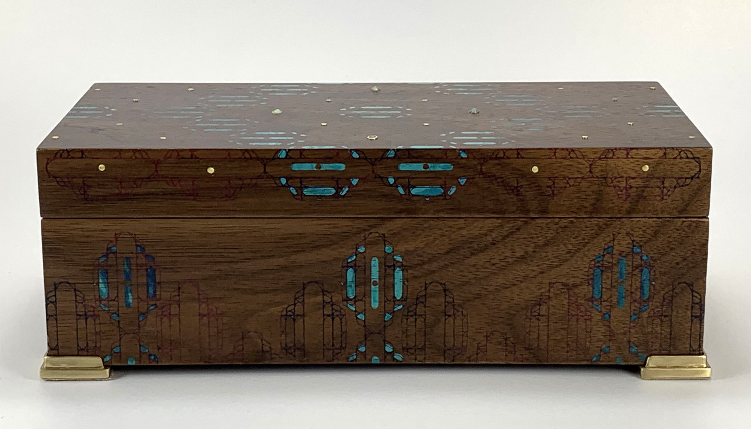 """cathedral  box, walnut, 8"""" x 4"""" x 2.75"""",brass and turquoise gemstones, lined with navy suede"""