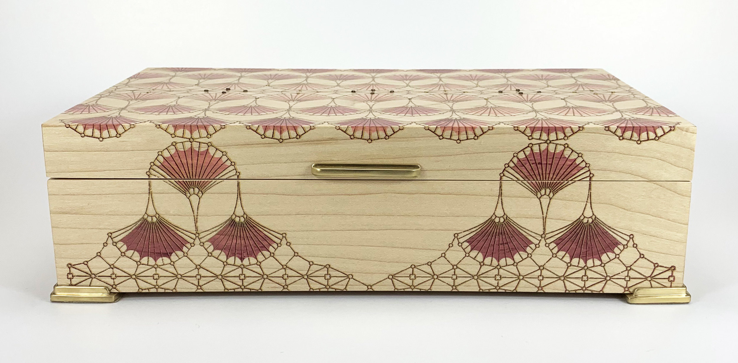 """arches  box, maple, 10"""" x 6"""" x 2.75"""", brass and amethyst gemstones, solid brass hinges, lined with navy suede"""