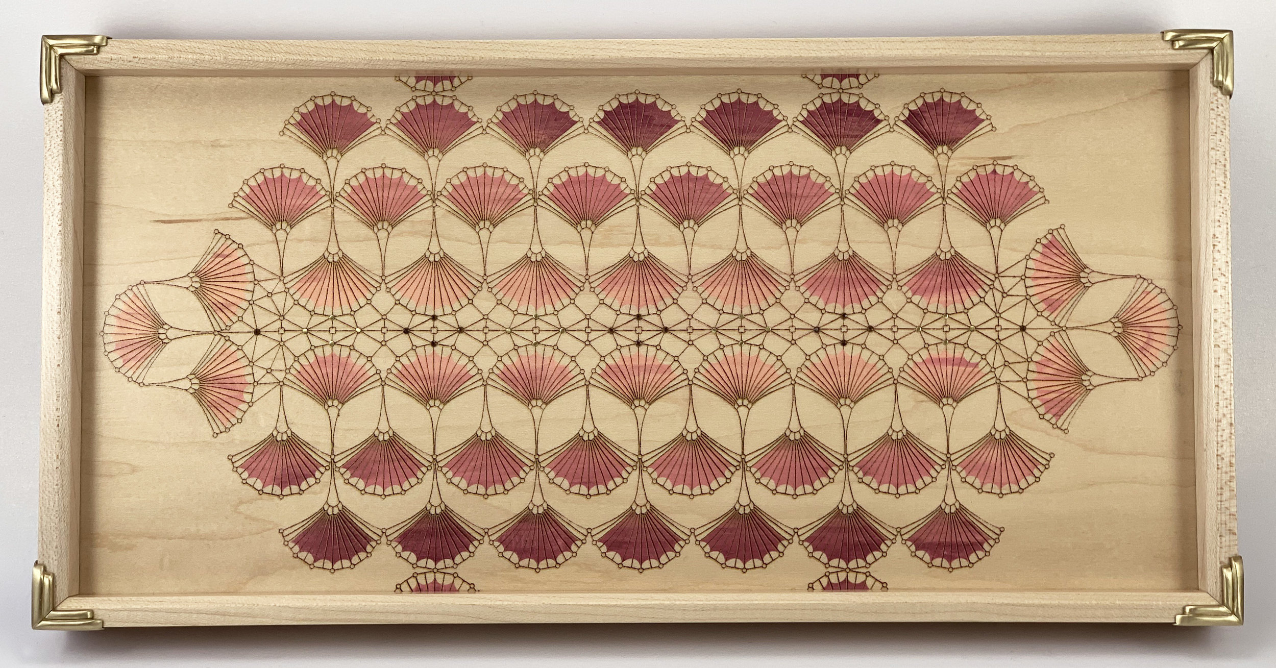 "arches  tray, maple, 15"" x 12"" x 1.25"", brass and garnet gemstones"