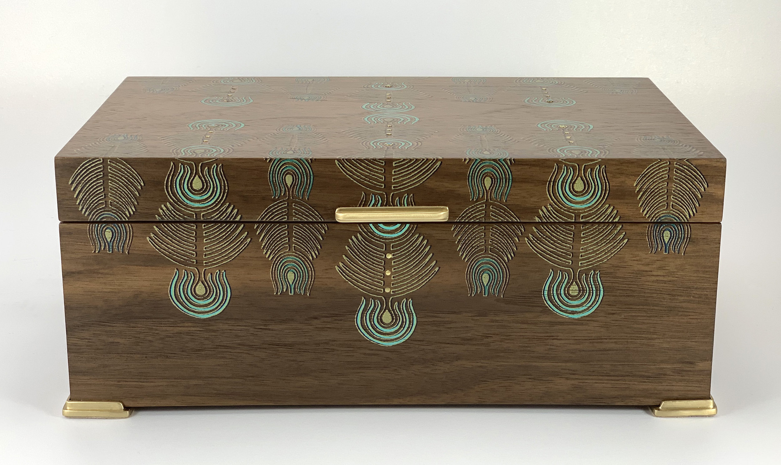 "peacock  box, walnut, 10"" x 6"" x 4"", brass and black spinel gemstones, solid brass hinges, lined with navy suede with a removable top tray"