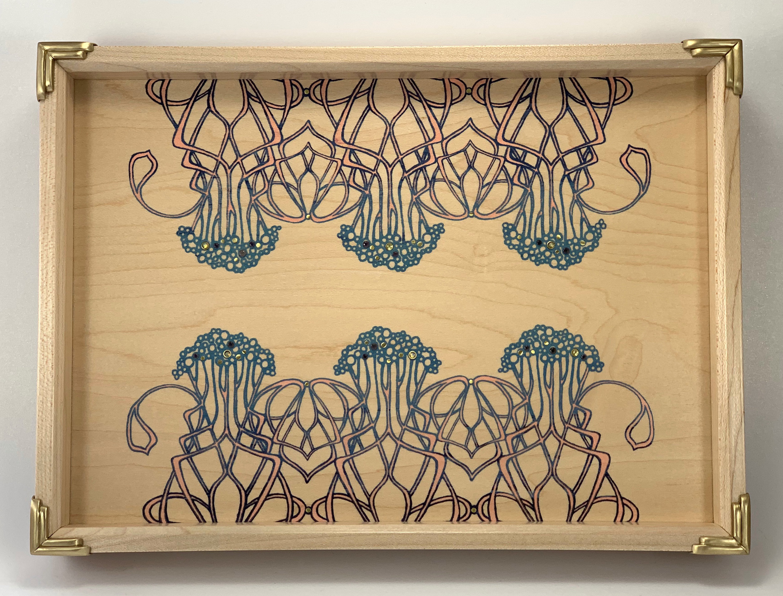"new nouveau  tray, maple, 12"" x 12"" x 1.25"", brass, turquoise, chrysoprase, white topaz, aquamarine, London blue topaz, and opal gemstones"