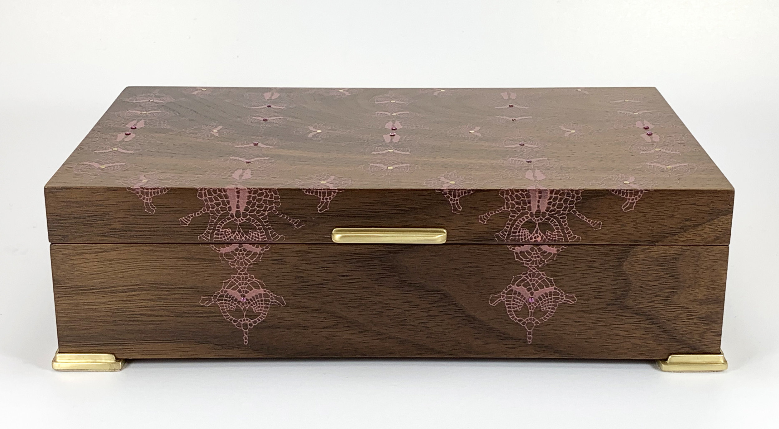 "straight lace  box, walnut, 10"" x 6"" x 2.75"", brass and rhodolite gemstones, lined with navy suede"