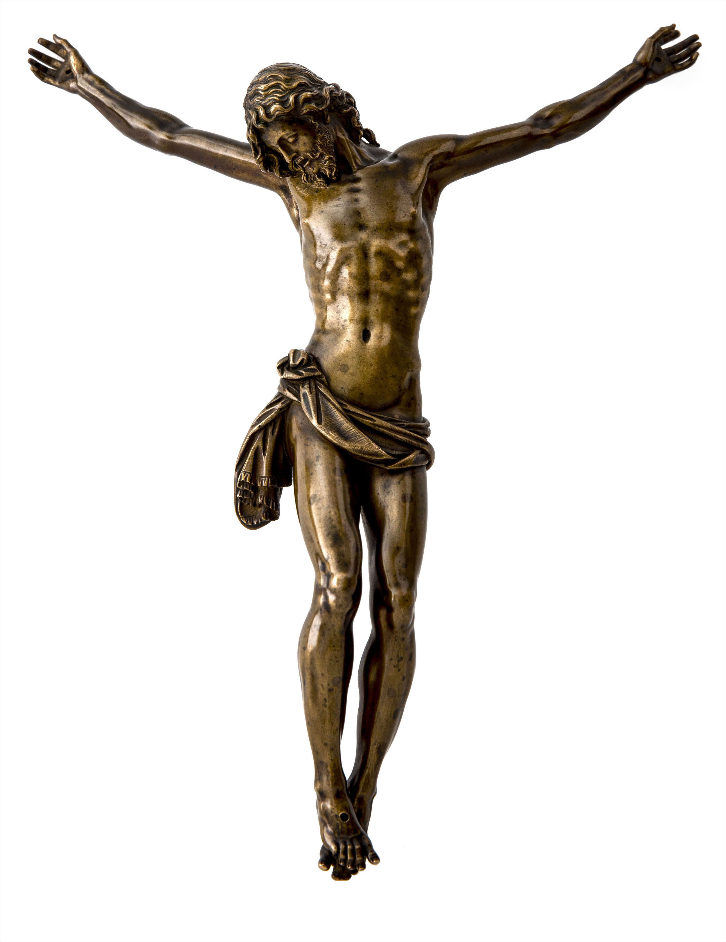 ANTONIO SUSINI  Florence, 1558 - 1624         Cristo Morto   Cast from a model by Giambologna (1529 - 1608), circa 1600        Bronze; on a modern ebony veneered base   31.5 cm. high, 26.5 cm. wide  70 cm. high, overall        Sold to a private collector
