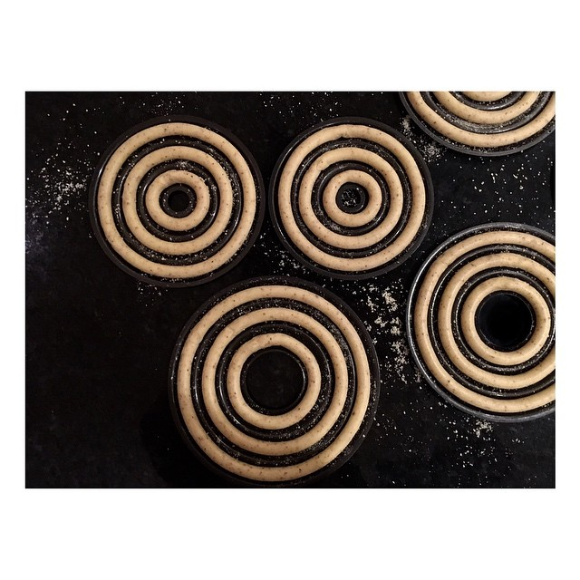 Hypnotic looking almond rings ready for the oven... this one's going to be an experiment in building a tiered tower cake.. fingers crossed! 🤞🏻 . . . . . #nordicbaking #scandinavianliving #scandiliving #baking #ringcake #glutenfree #glutenfreecake #kransekake