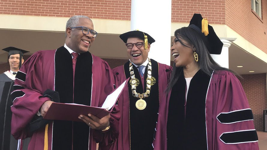 Robert F. Smith, left, laughs with David Thomas, center, and actress Angela Bassett at Morehouse College on Sunday in Atlanta.    We are living in a time where people like to do a lot of talking without any follow up. We celebrate people for doing the least amounts of charity because it is rare that we will consider the needs of others.