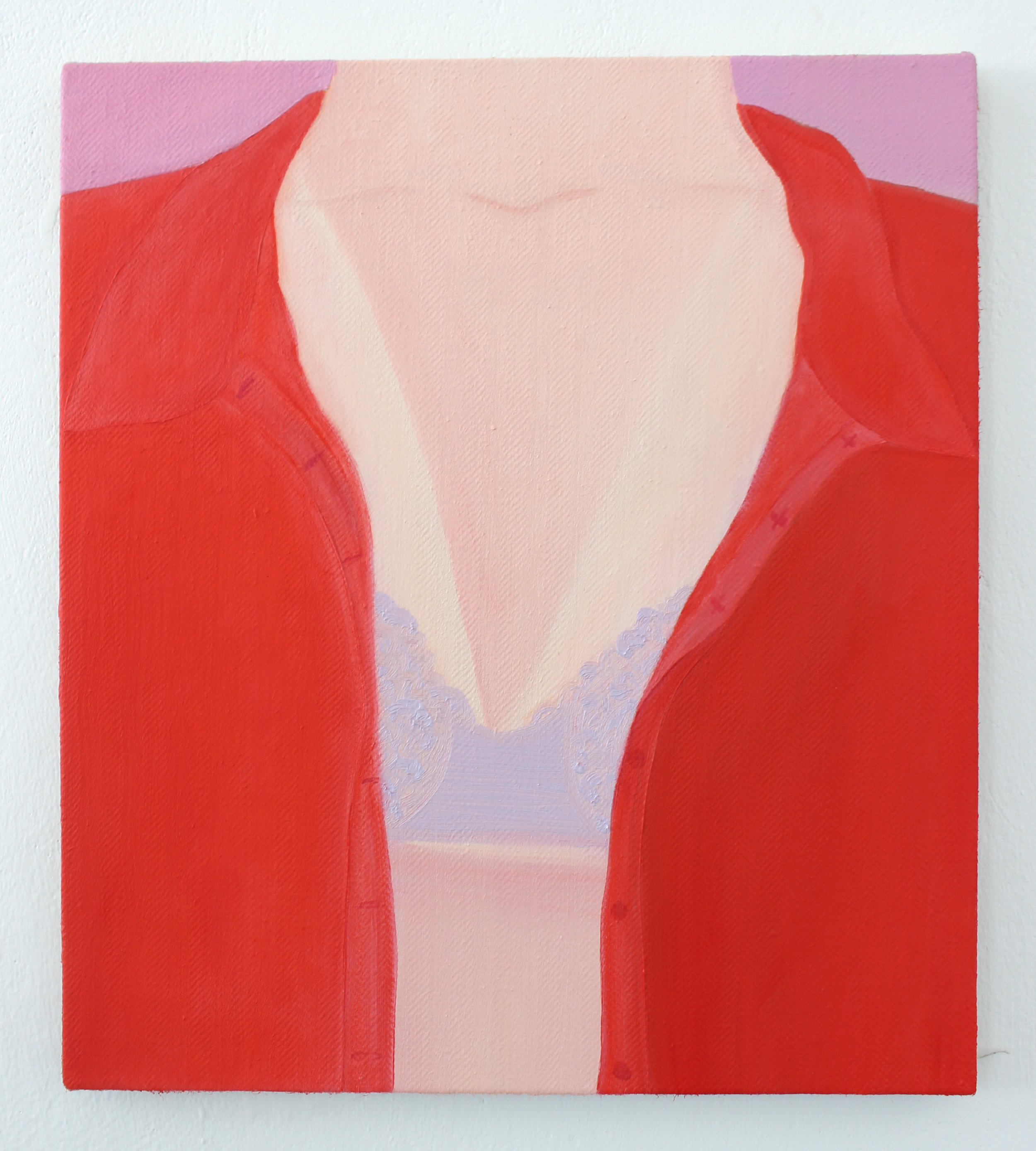 Deep V , oil on herringbone linen, 40 x 35 cm, 2018