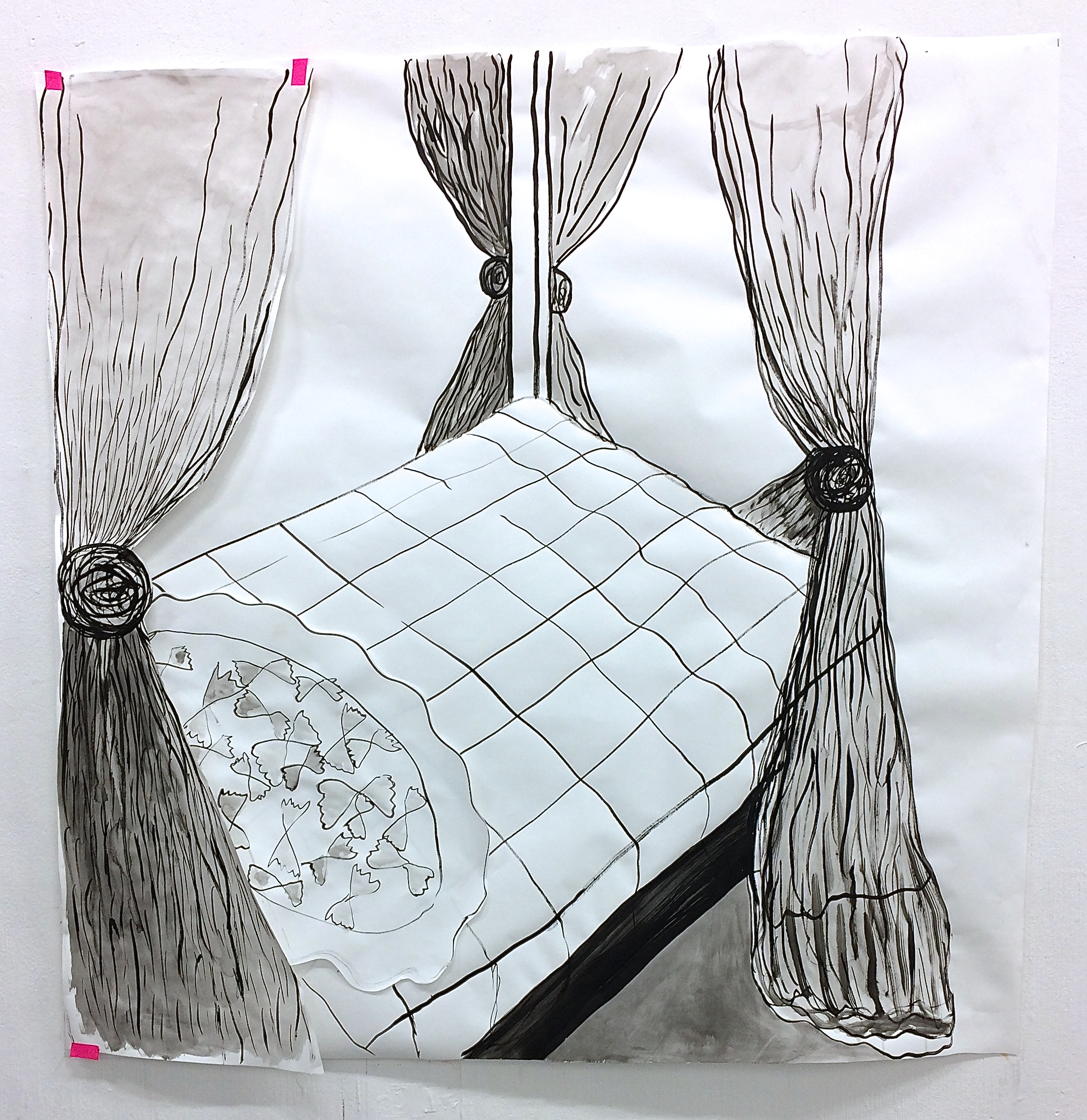 Farfalle in a four poster , ink on paper, 2018