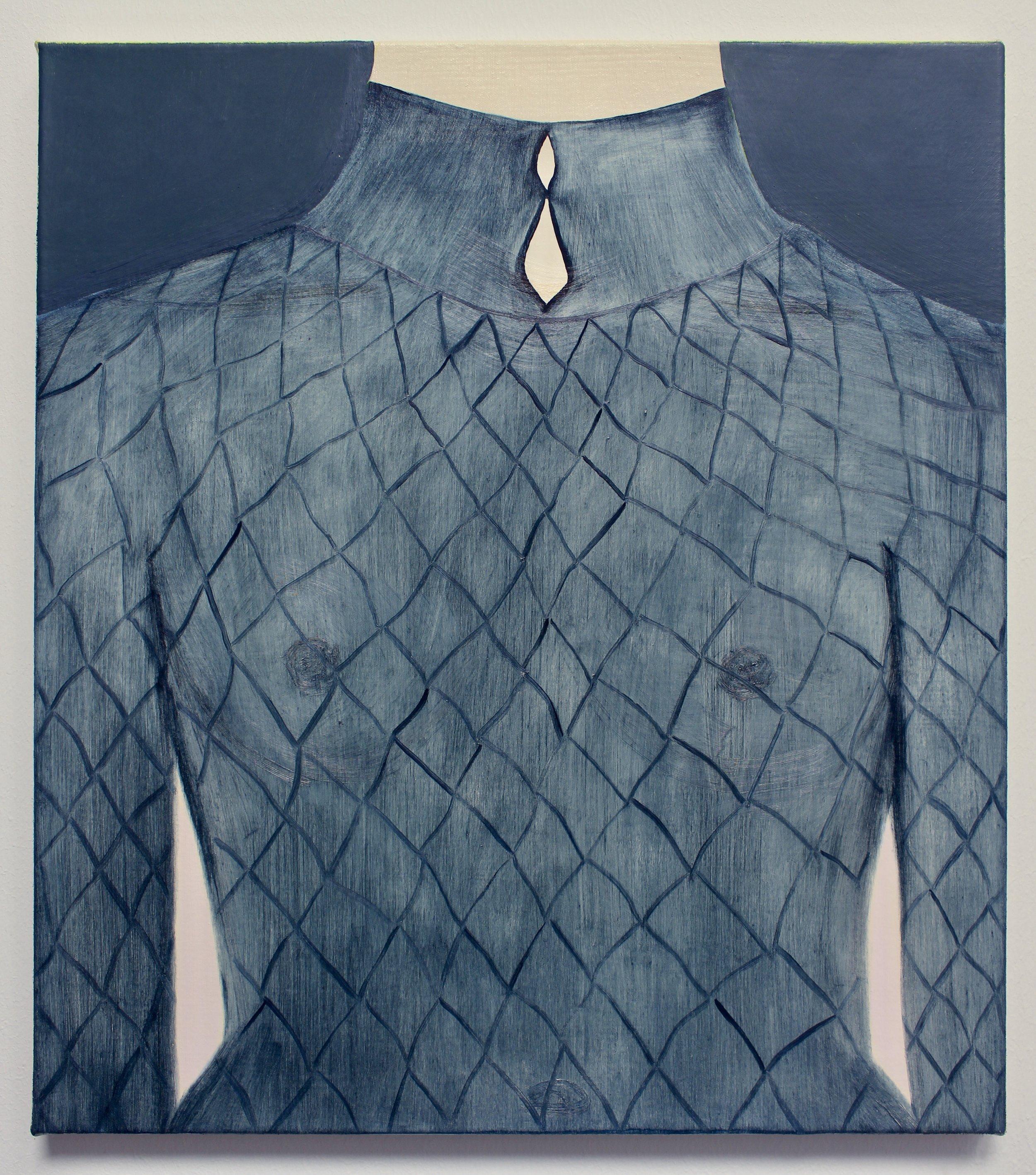 Fishnet , oil on canvas, 46 x 40cm, 2019