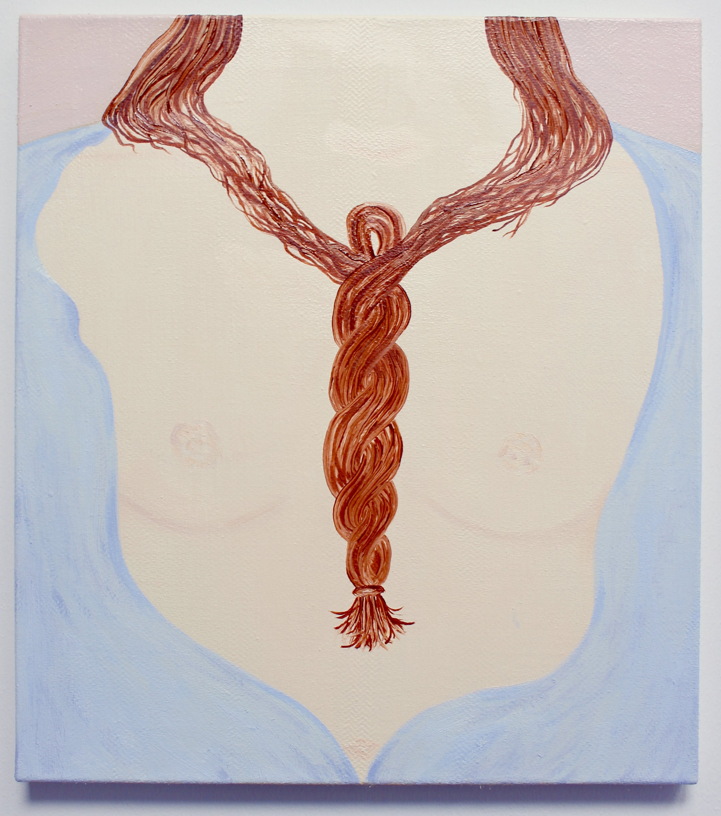 Wear your hair like a necklace,  oil on herringbone linen, 46 x 40cm, 2019