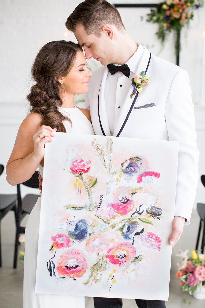 White Groom Suit Chicago Wedding Alexandra Lee Photography